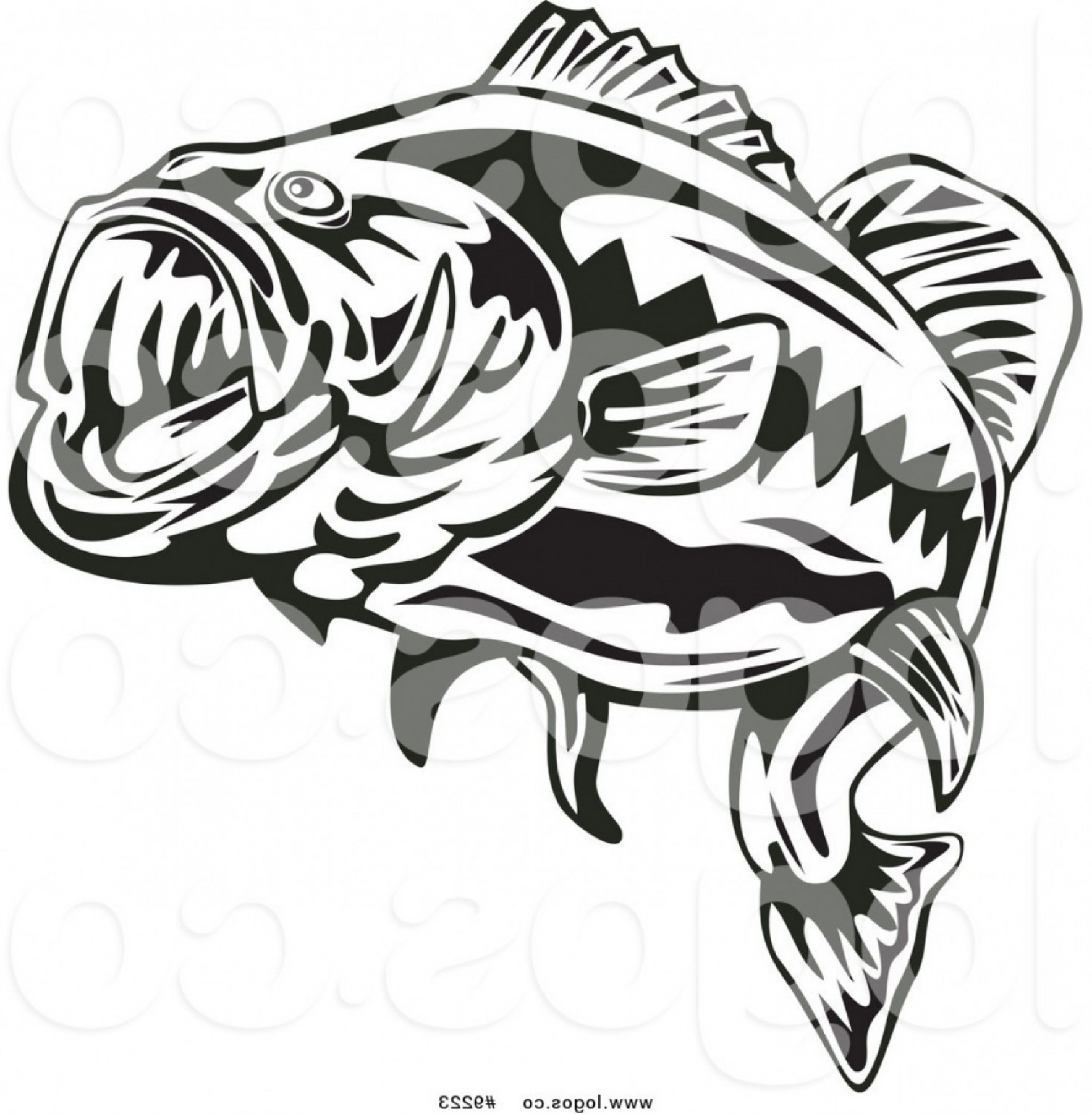 Largemouth Bass Silhouette Vector: Royalty Free Clip Art Vector Logo Of A Black And White Largemouth Bass Fish By Patrimonio