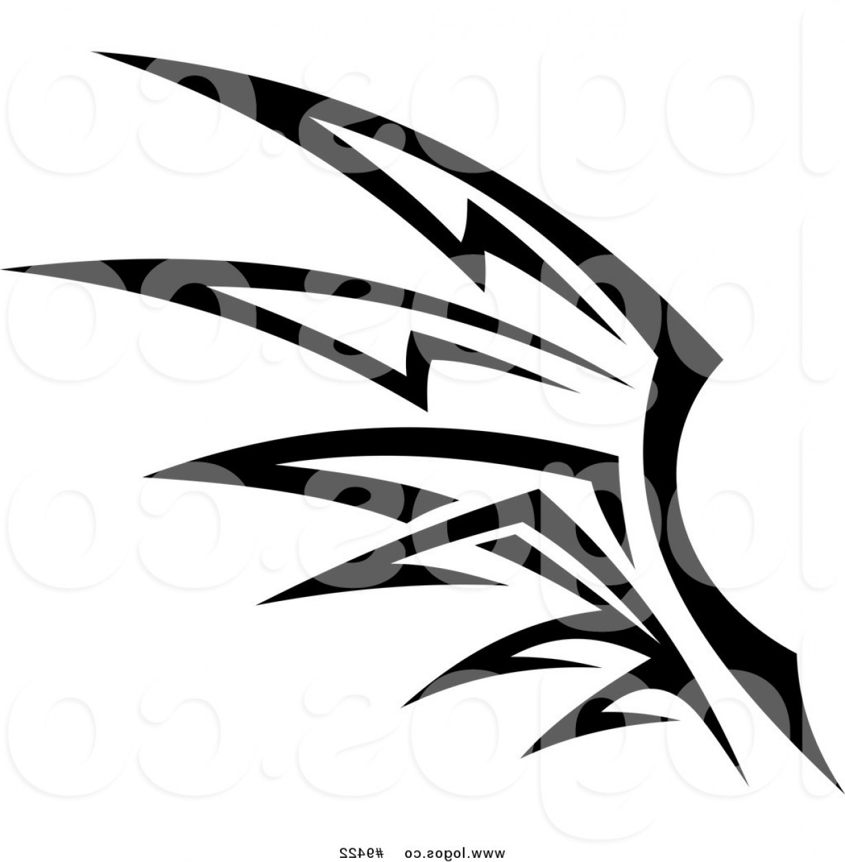 Angel Wings Tattoo Tribal Vector: Royalty Free Clip Art Vector Logo Of A Black And White Tribal Wing By Vector Tradition Sm