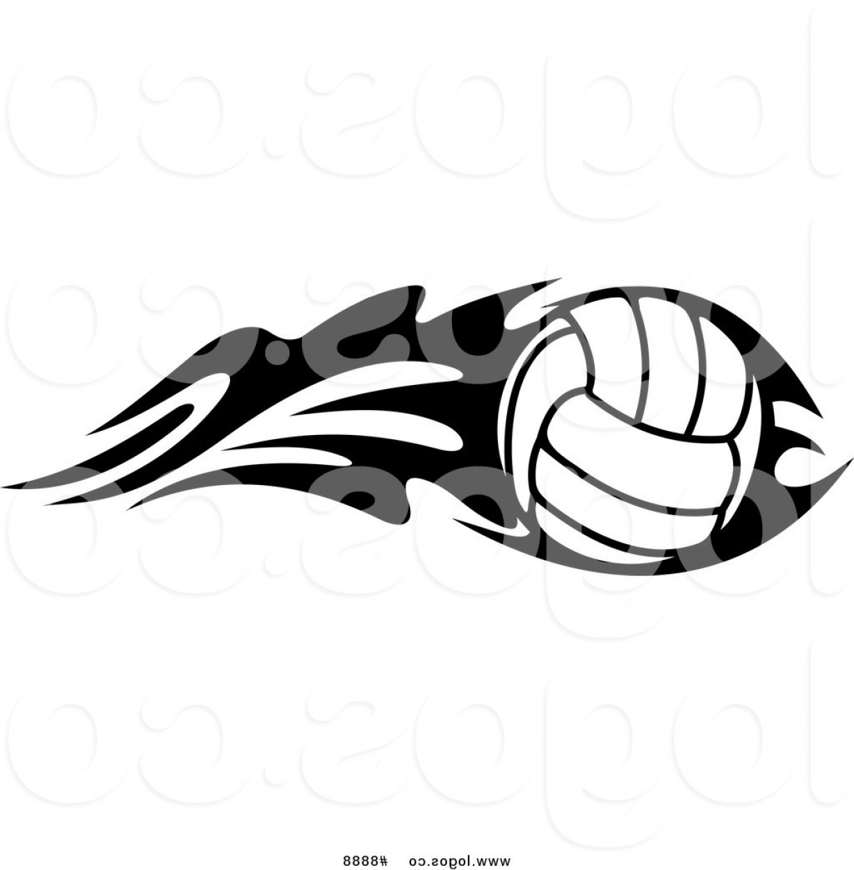 Volleyball Vector Logo: Royalty Free Clip Art Vector Logo Of A Black And White Volleyball With Tribal Flames By Vector Tradition Sm