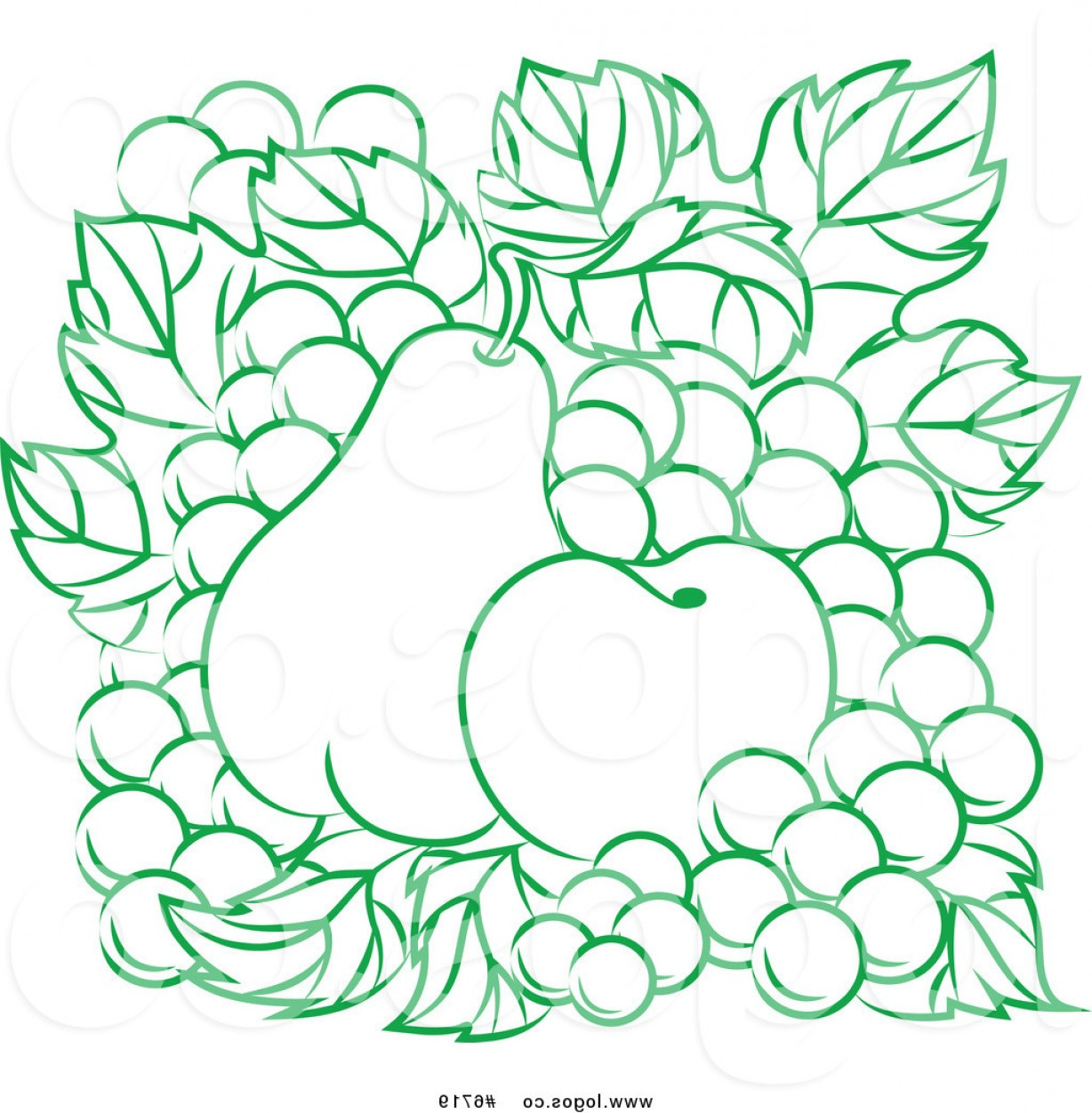 Grapes Clip Art Vector: Royalty Free Clip Art Vector Logo Of A Green Apple Pear And Grapes By Vector Tradition Sm