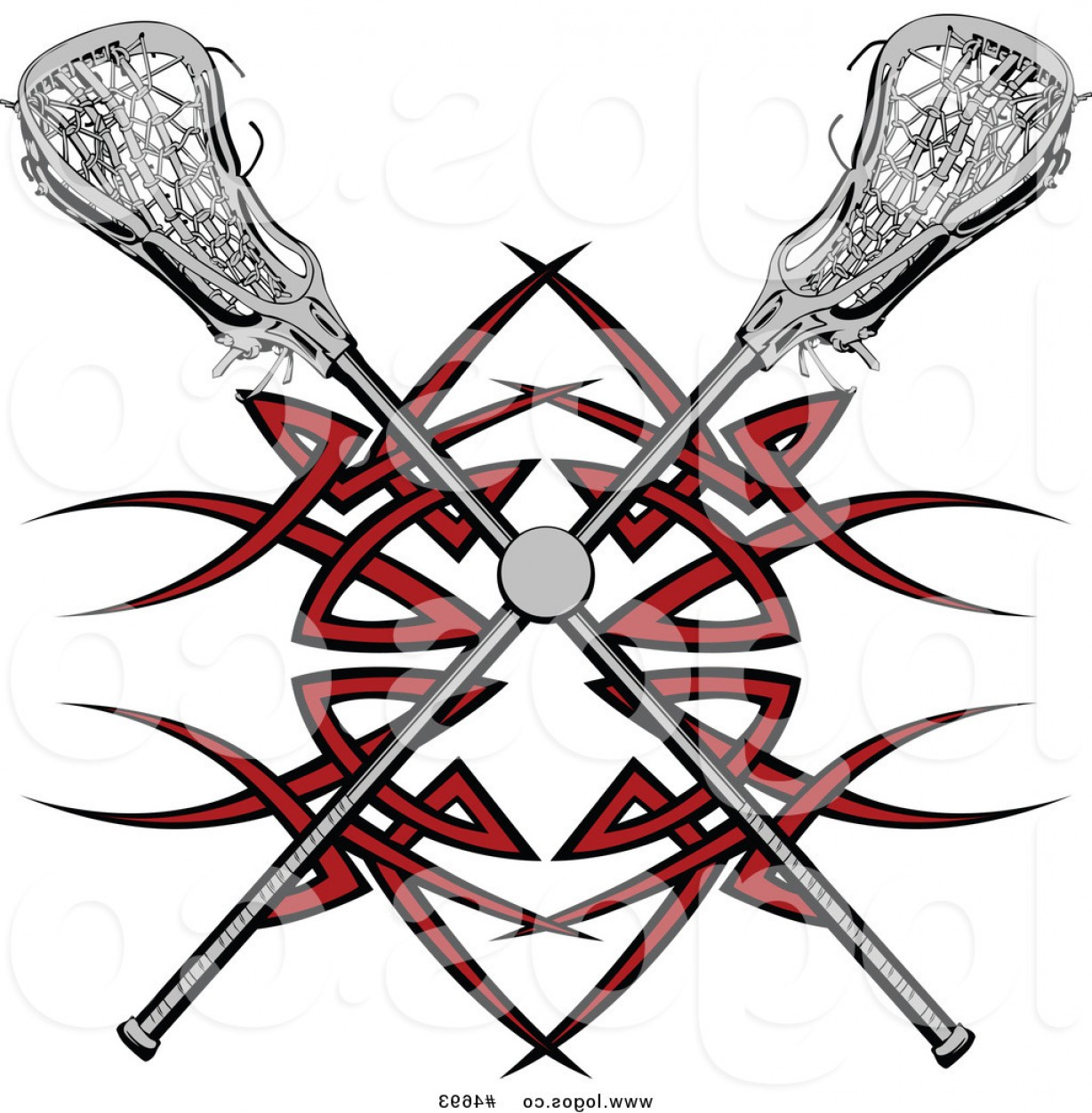 Lacrosse Stick Vector: Royalty Free Clip Art Vector Logo Of A Lacrosse Ball And Crossed Sticks Over A Red Tribal Design By Chromaco