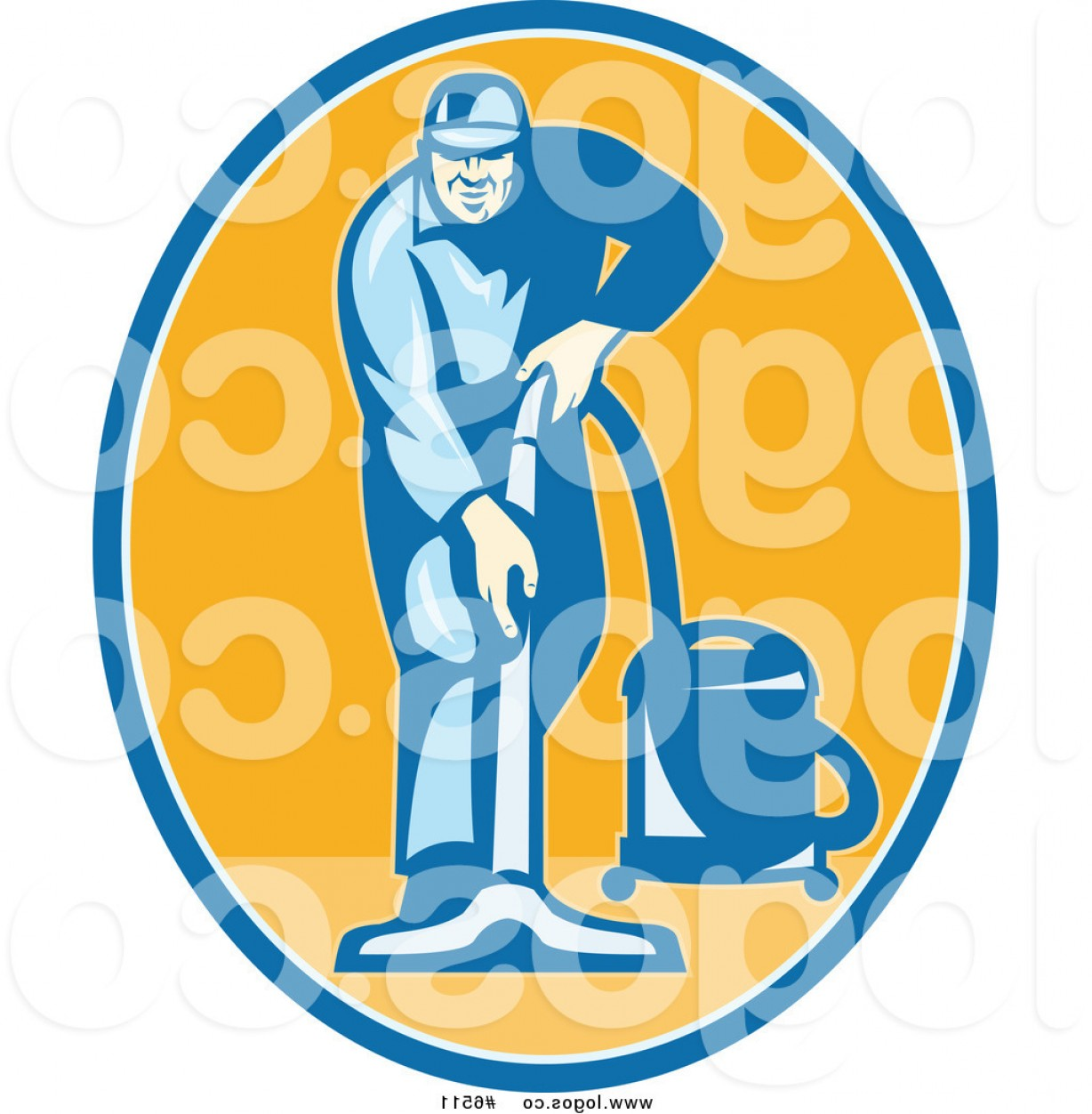 Janitorial Vector: Royalty Free Clip Art Vector Logo Of A Male Janitor Using A Vacuum In An Orange Oval By Patrimonio