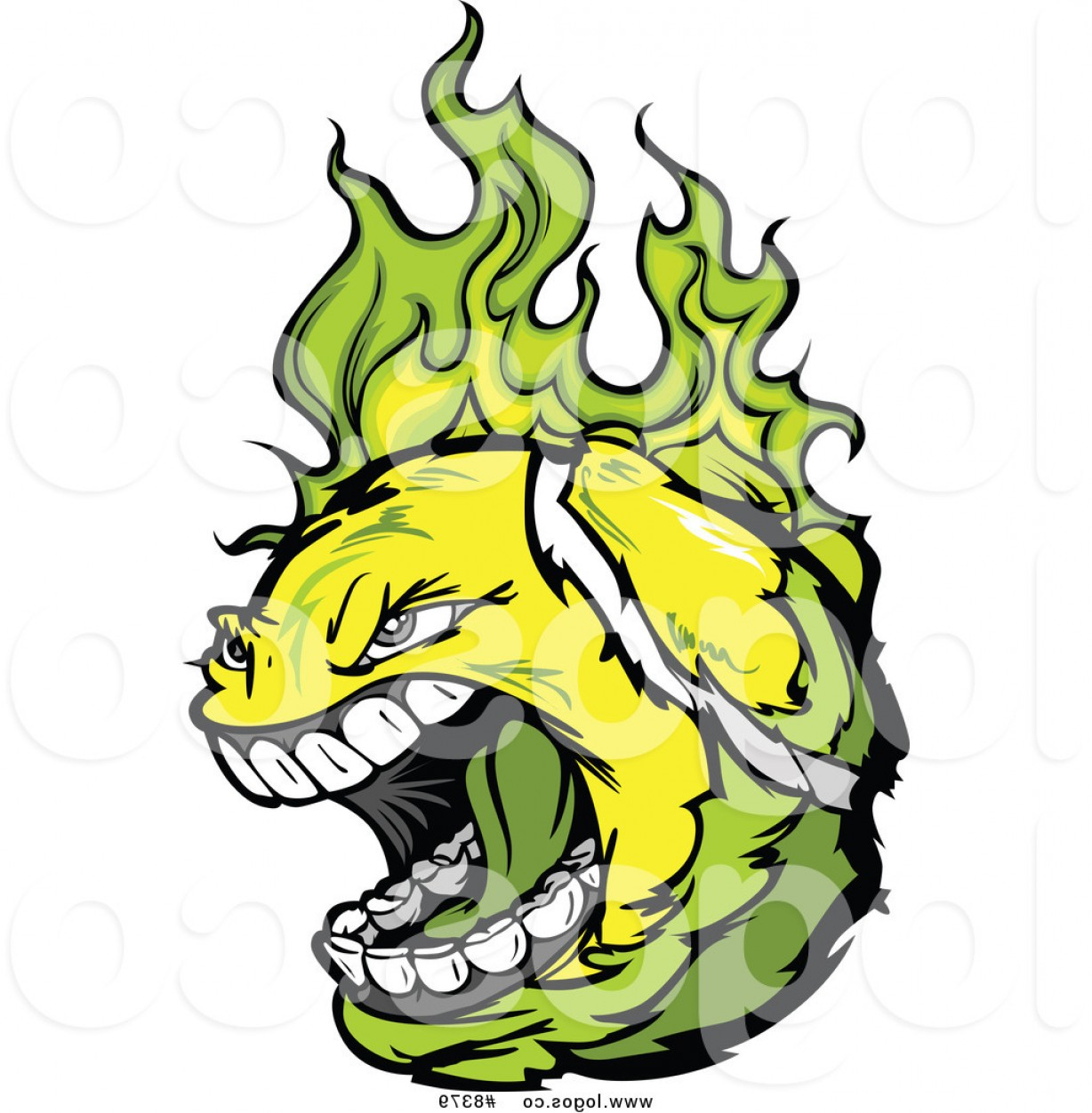 Flaming Tennis Ball Vector Art: Royalty Free Clip Art Vector Logo Of A Screaming Tennis Ball Flaming With Green Fire By Chromaco
