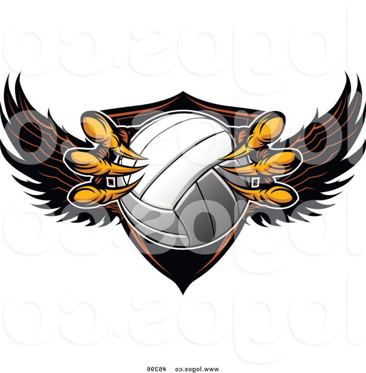 Volleyball Vector Logo: Royalty Free Clip Art Vector Logo Of A Shield And Eagle Talons Grabbing A Volleyball By Chromaco