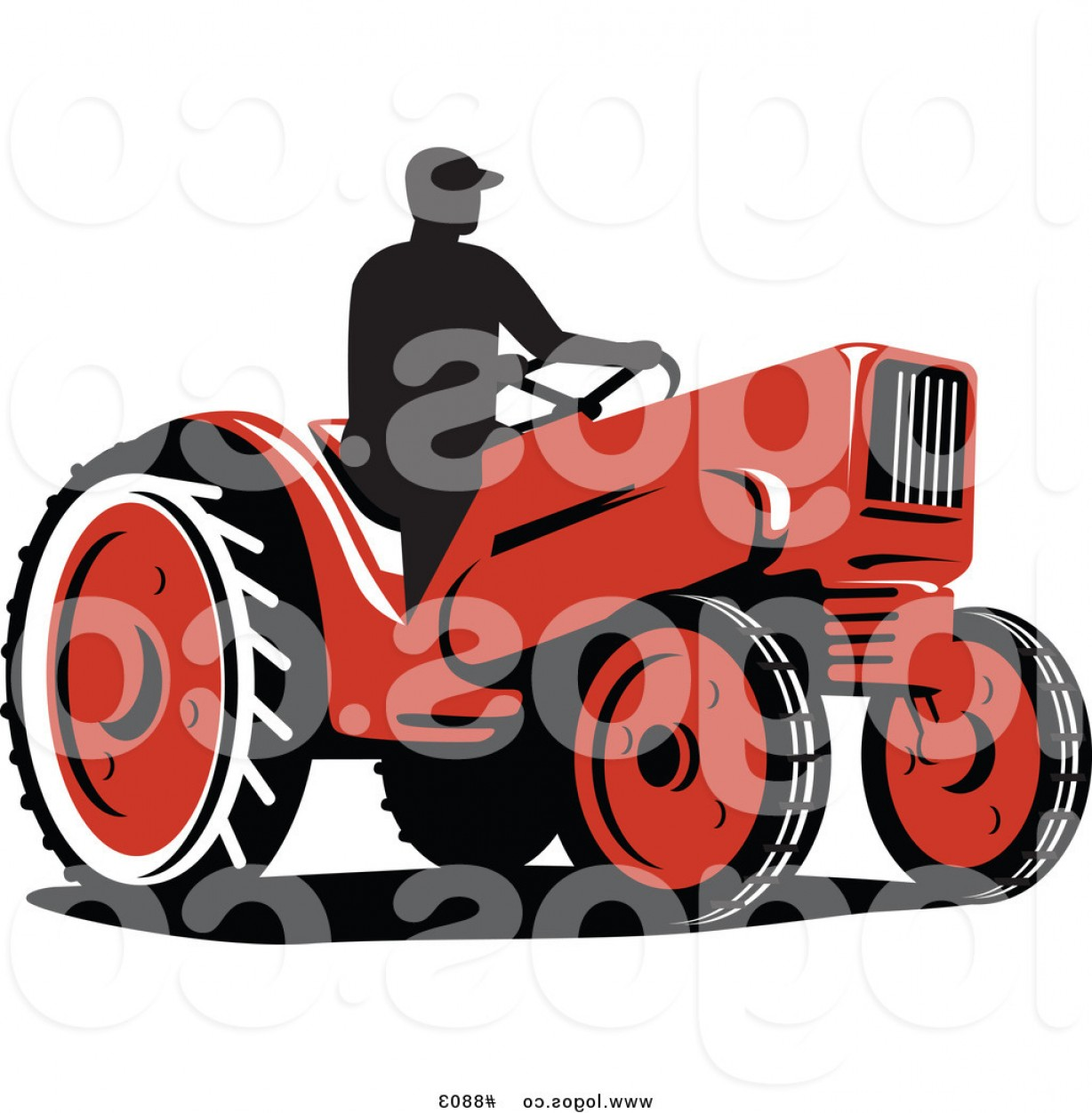 Tractor Silhouette Vector Art: Royalty Free Clip Art Vector Logo Of A Silhouetted Farmer On A Red Tractor By Patrimonio