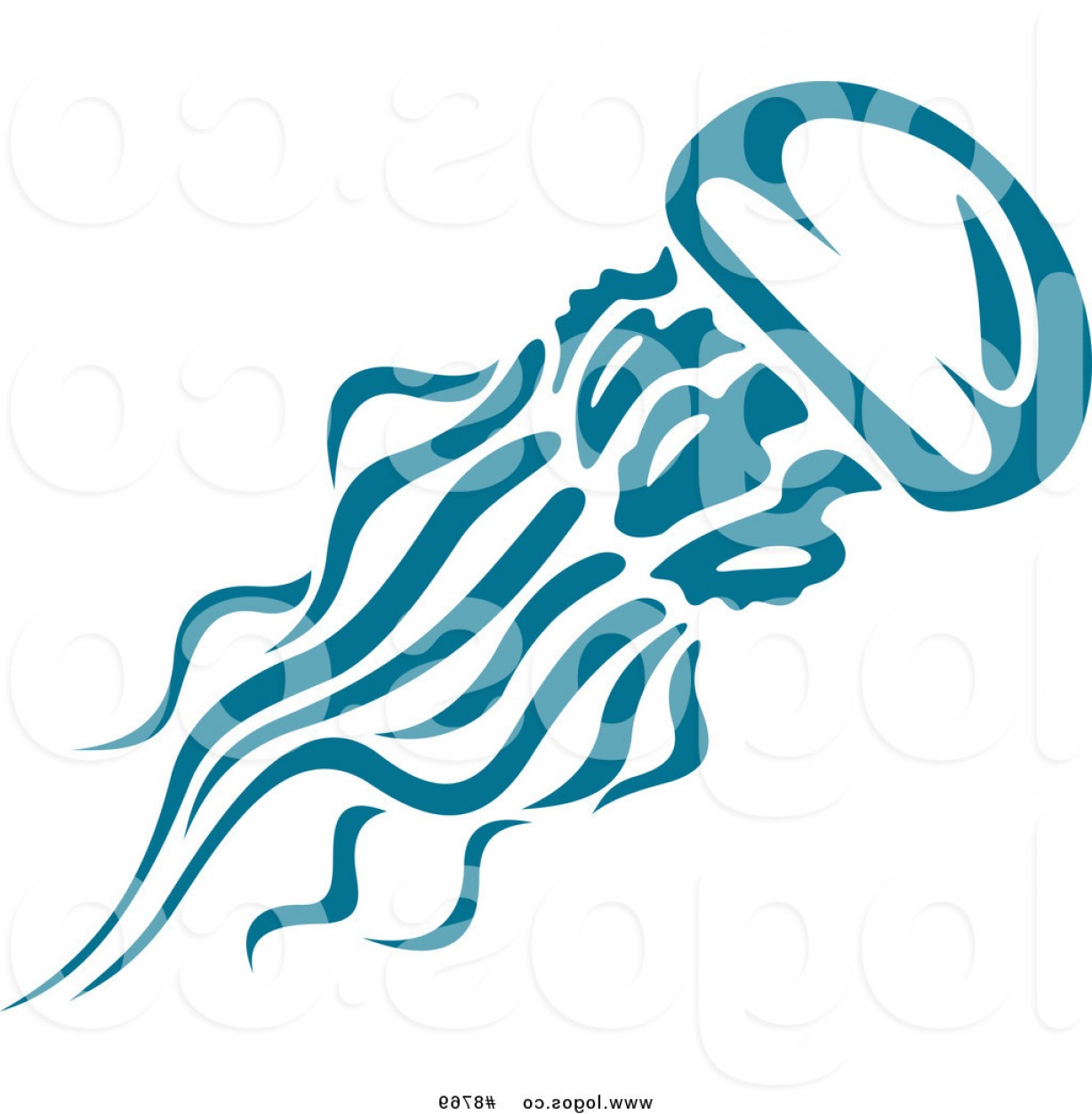 Jelly Fish Graphic Vector: Royalty Free Clip Art Vector Logo Of A Teal Jellyfish By Vector Tradition Sm