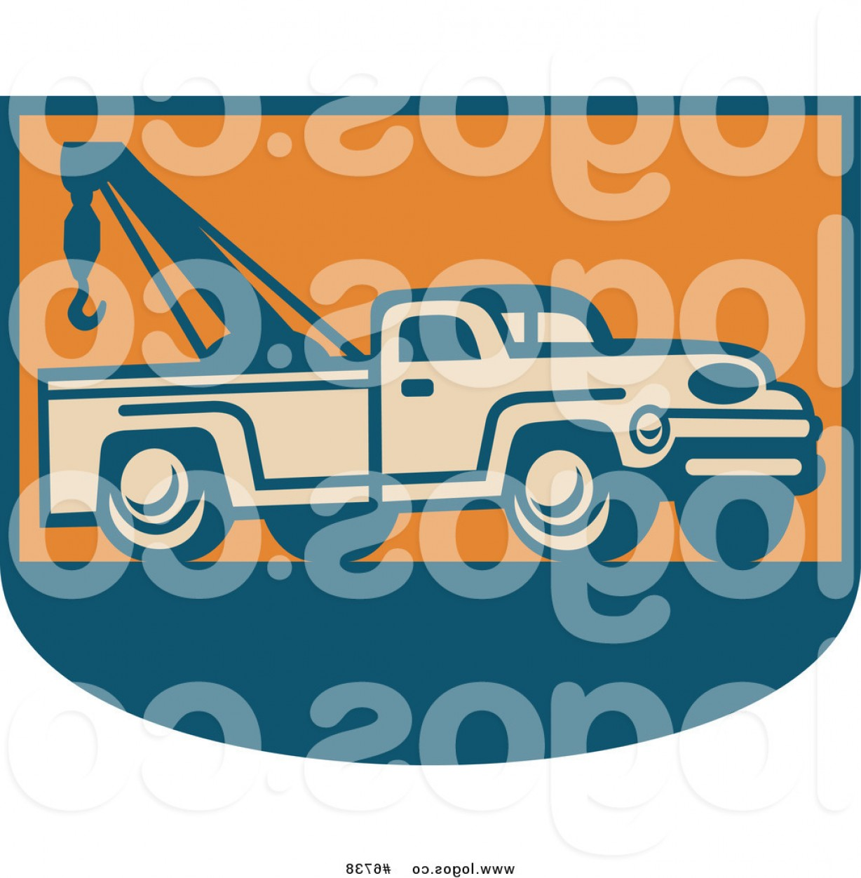 Towing Vector Clip Art: Royalty Free Clip Art Vector Logo Of A Tow Truck On Orange And Blue By Patrimonio