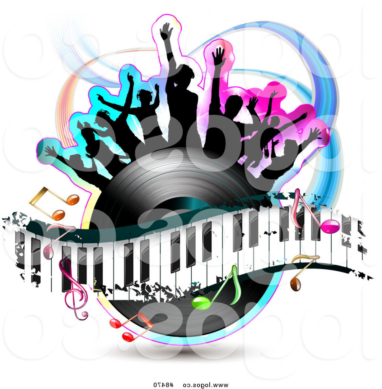 Dancing Musical Notes Vector: Royalty Free Clip Art Vector Logo Of Silhouetted Dancers On A Vinyl Record With A Keyboard And Music Notes By Merlinul
