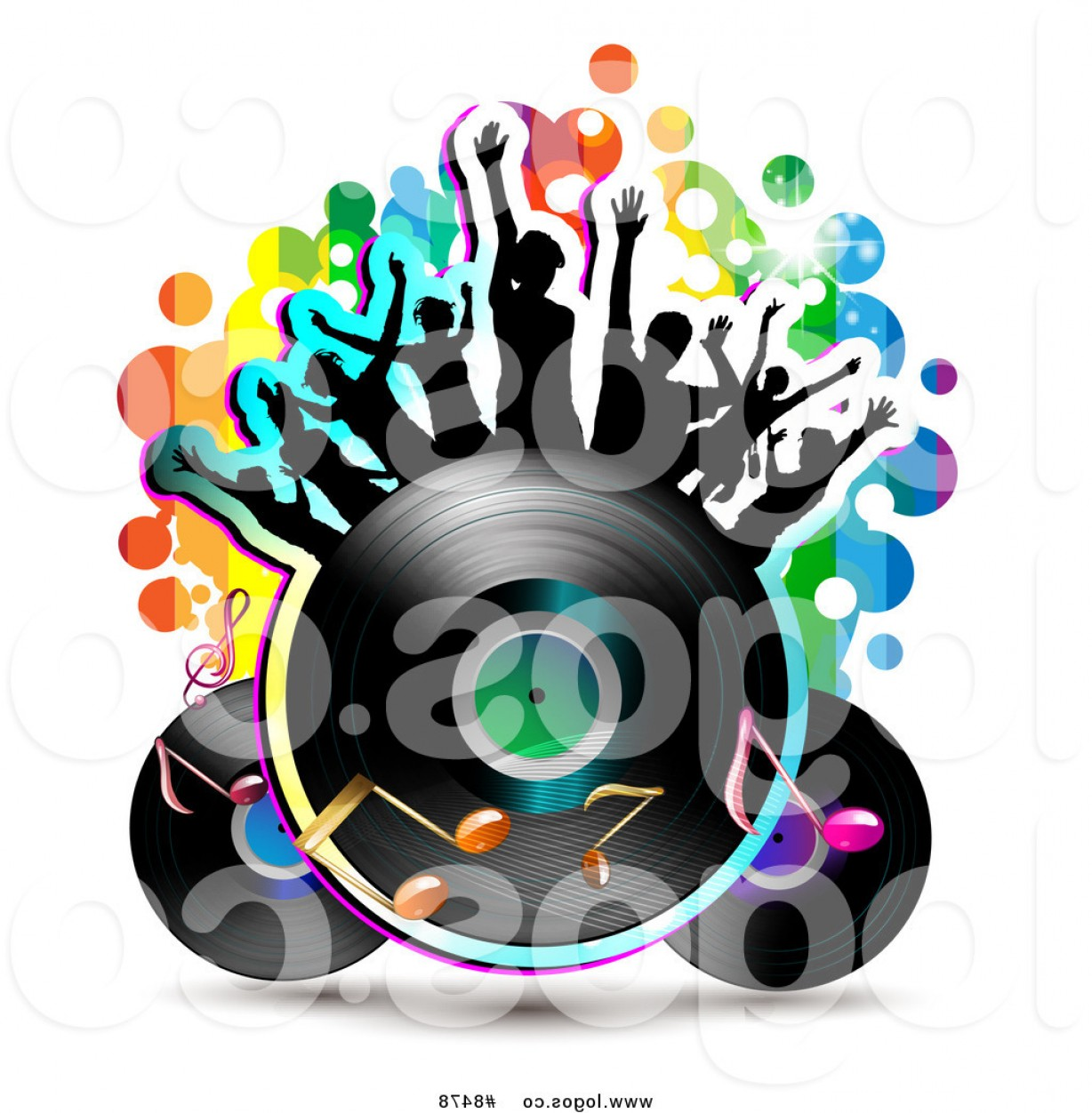 Dancing Musical Notes Vector: Royalty Free Clip Art Vector Logo Of Silhouetted Dancers On A Vinyl Record With Music Notes By Merlinul