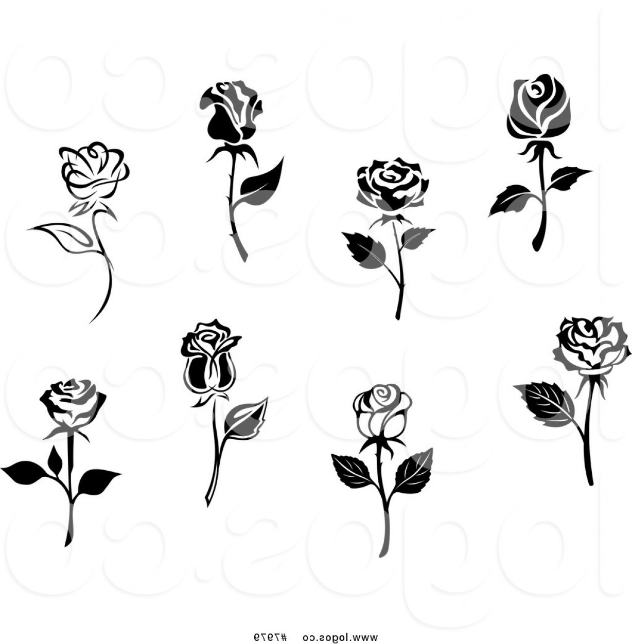 Roses Logo Vector: Royalty Free Clip Art Vector Logos Of Black And White Roses By Vector Tradition Sm