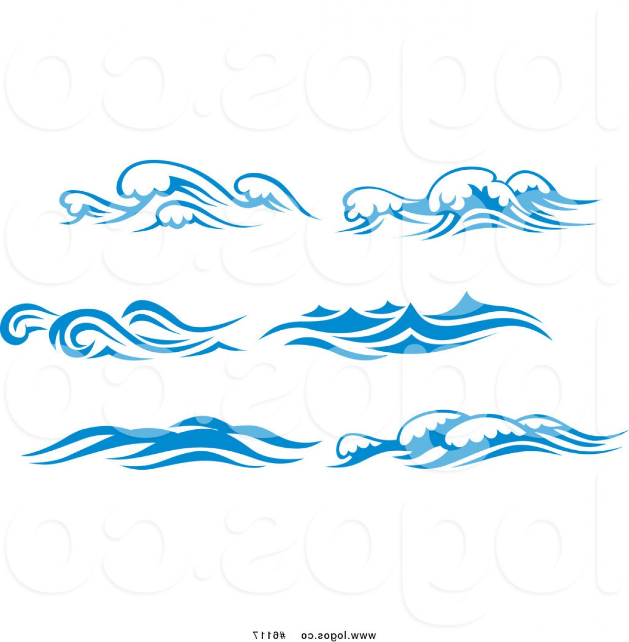Ocean Water Clip Art Vector: Royalty Free Clip Art Vector Logos Of Blue And White Ocean Surf Waves By Vector Tradition Sm