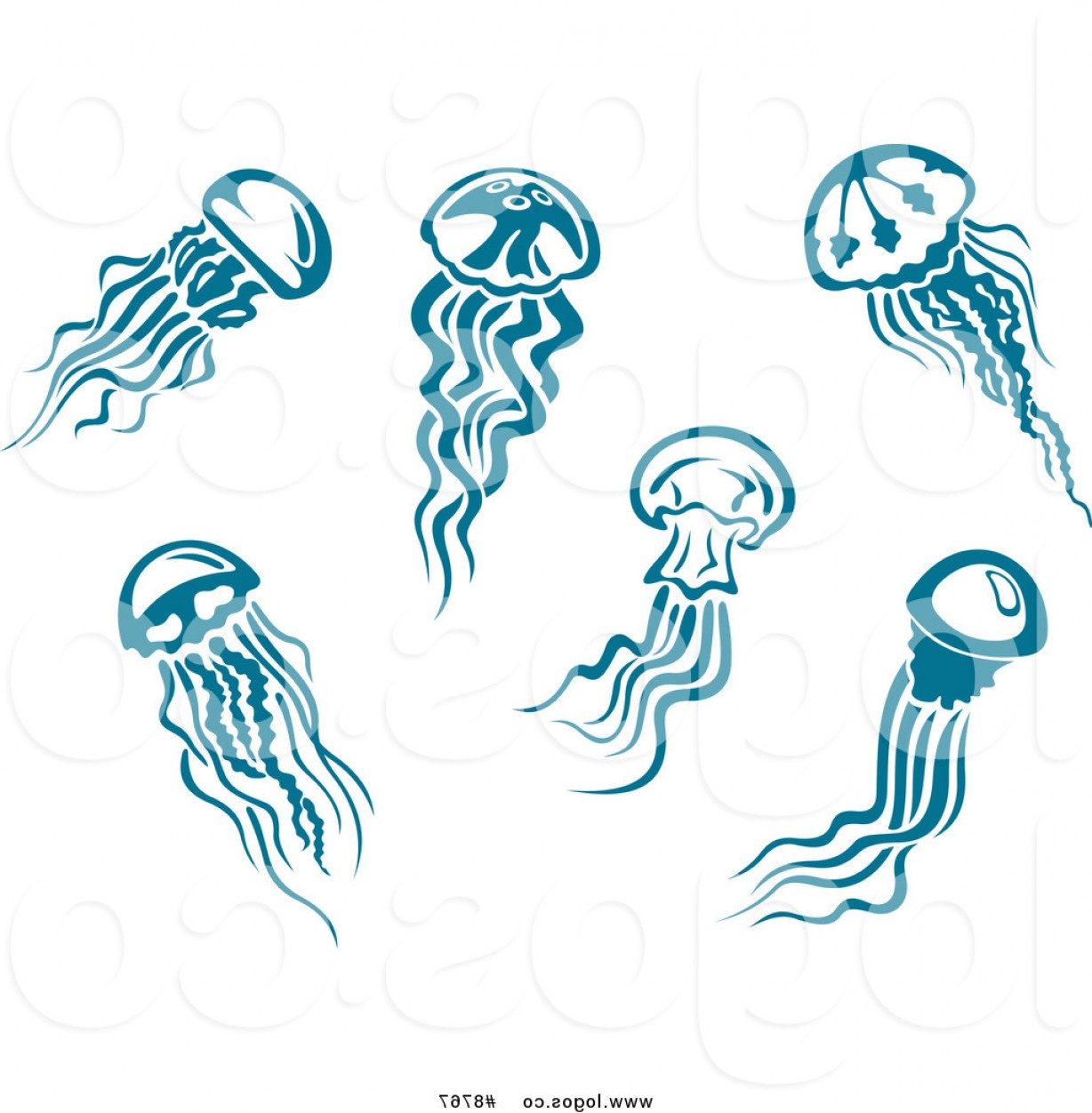 Jelly Fish Graphic Vector: Royalty Free Clip Art Vector Logos Of Teal Jellyfish By Vector Tradition Sm