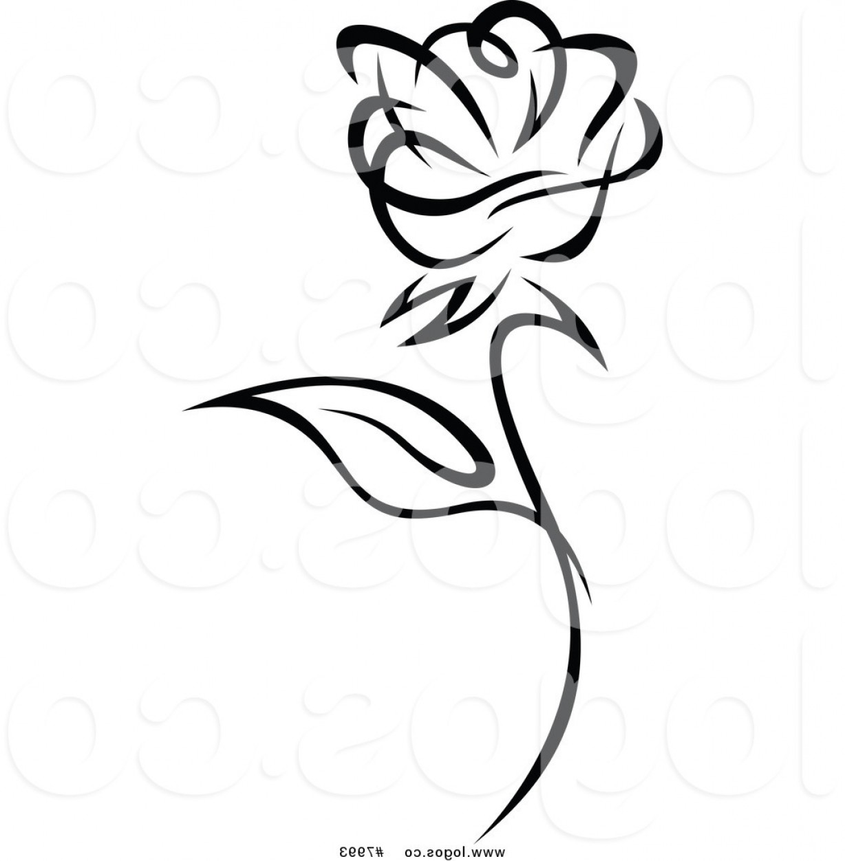 Roses Logo Vector: Royalty Free Clip Art Vector Of A Black And White Rose Logo By Vector Tradition Sm