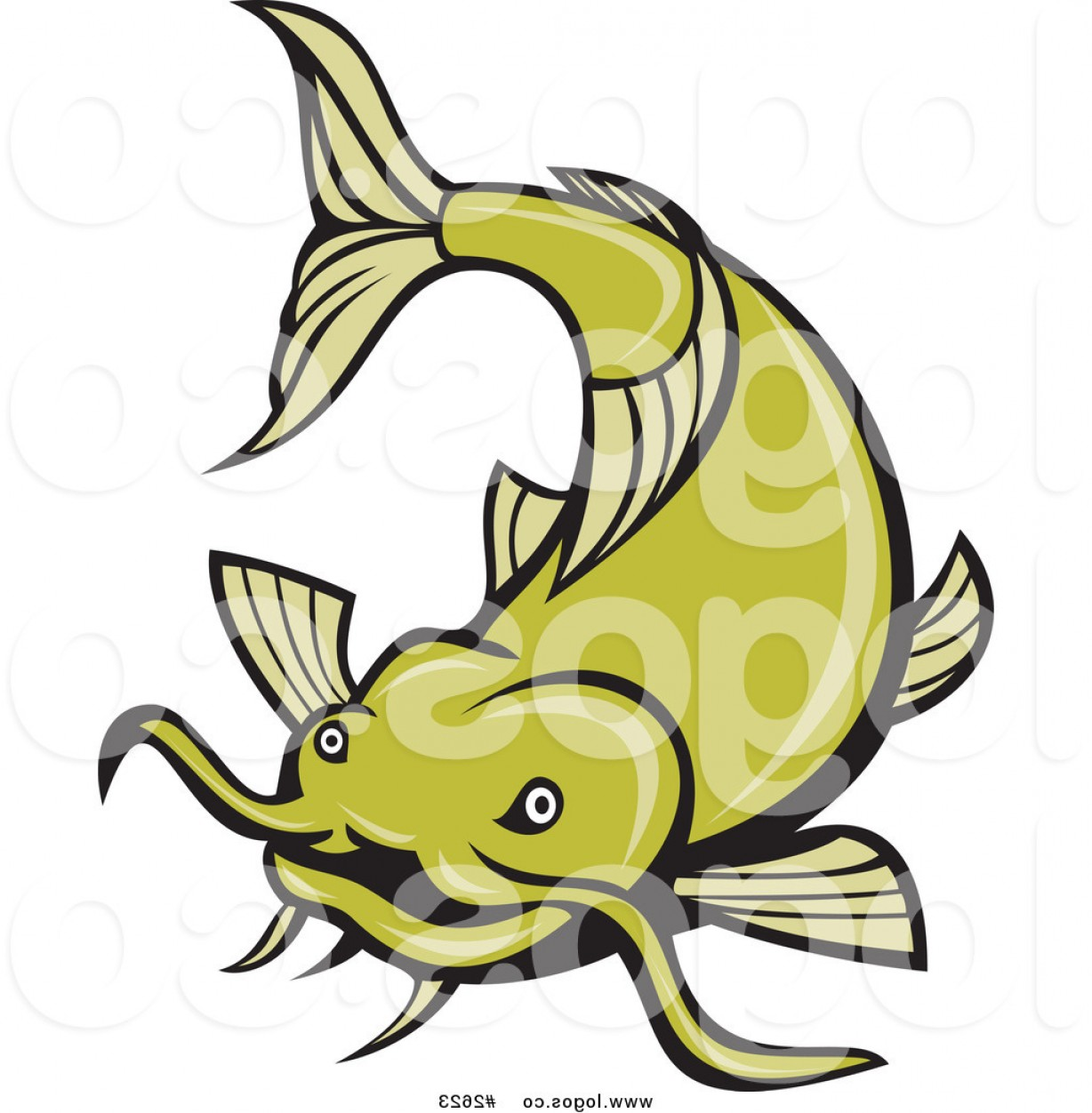 Catfish Vector Logo: Royalty Free Green Catfish Vector Logo By Patrimonio