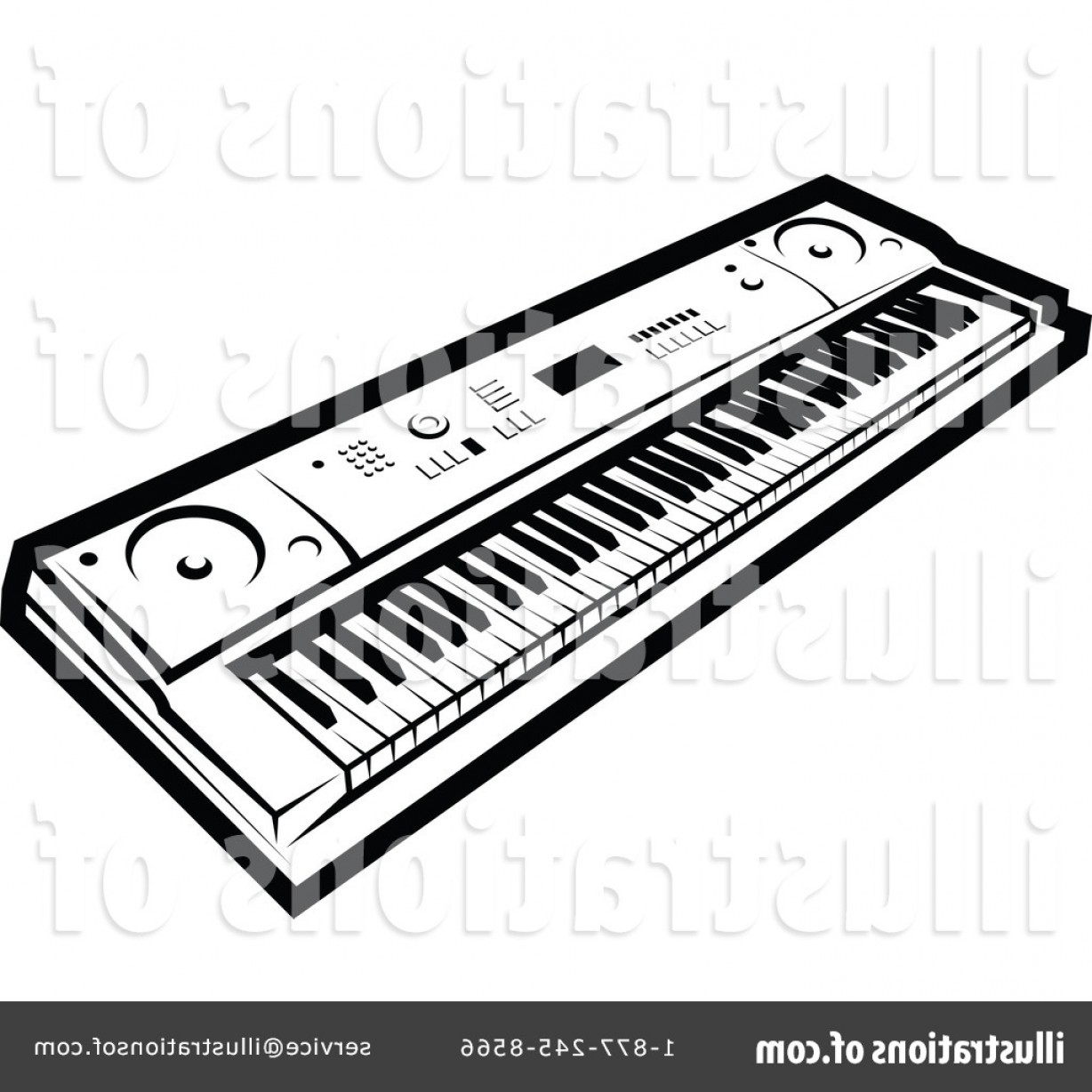 Musical Keyboard Vector: Royalty Free Music Keyboard Clipart Illustration