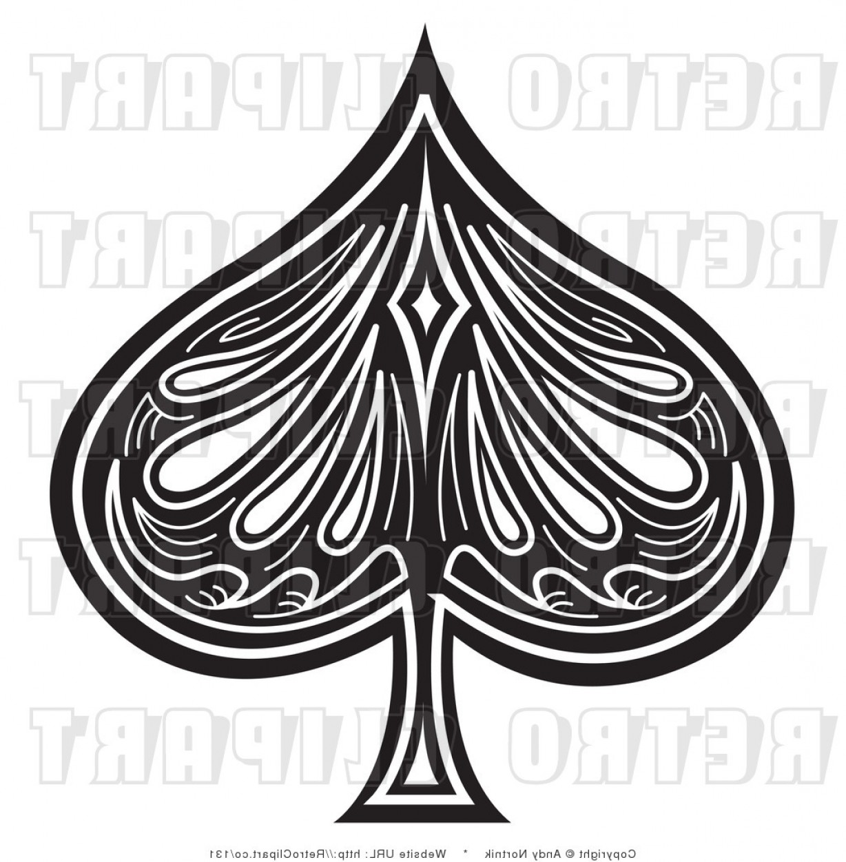 Spade Card Vector: Royalty Free Retro Vector Clip Art Of A Black And White Spade By Andy Nortnik