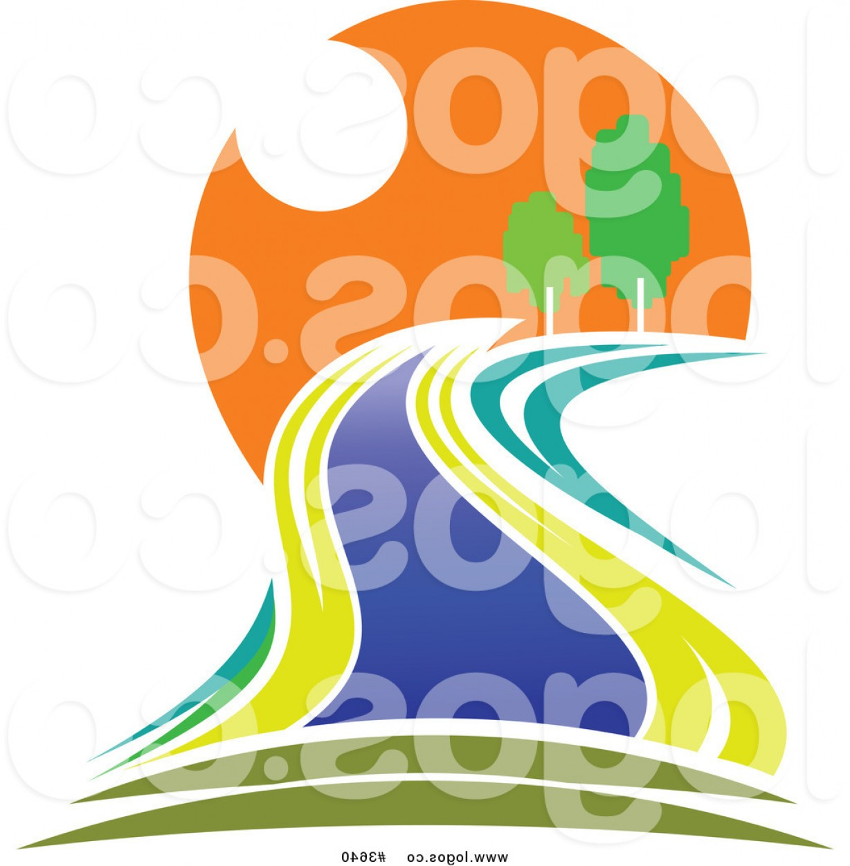 Creek Vector: Royalty Free River At Sunset Moving Through A Forest Logo By Vector Tradition Sm