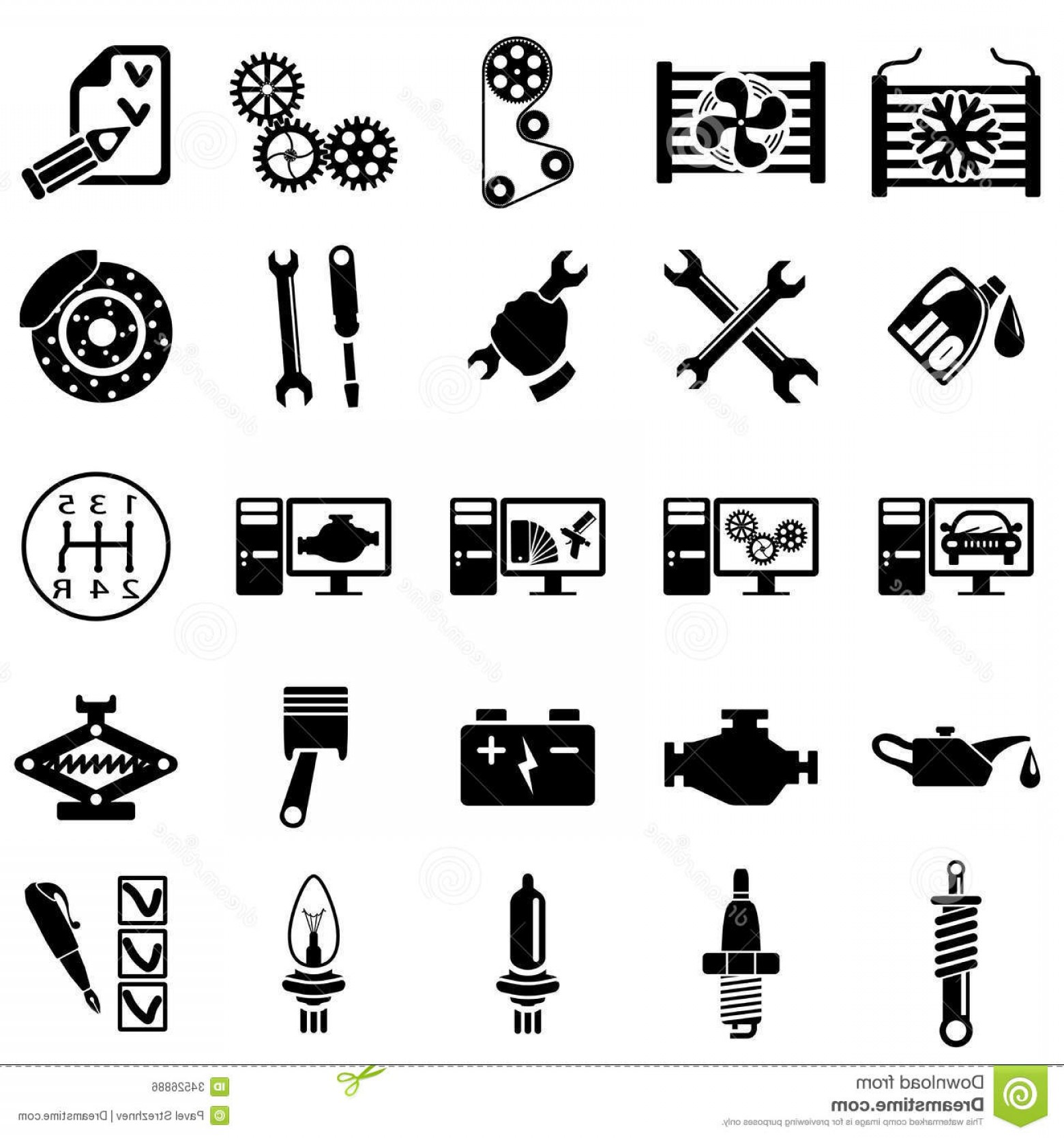 Workshop Icon Vector: Royalty Free Stock Image Auto Repair Icons Set Vector Illustration Image