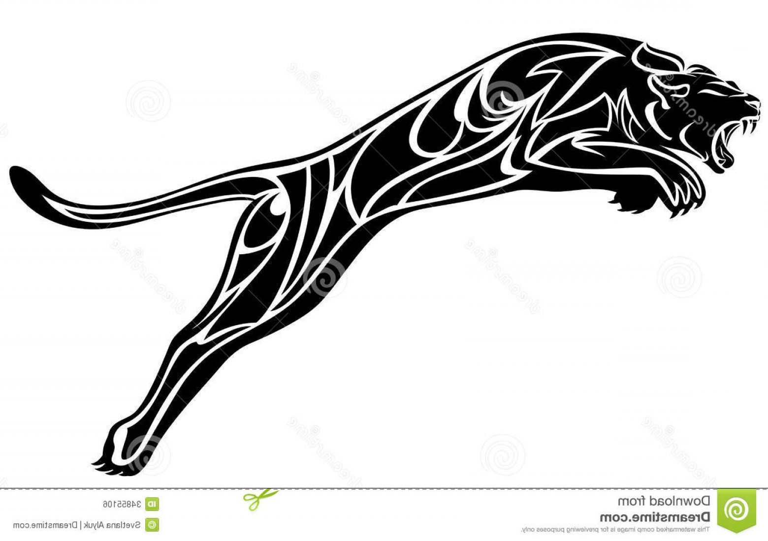 Panther Vector: Royalty Free Stock Image Black Panther Furious Jump White Illustration Image