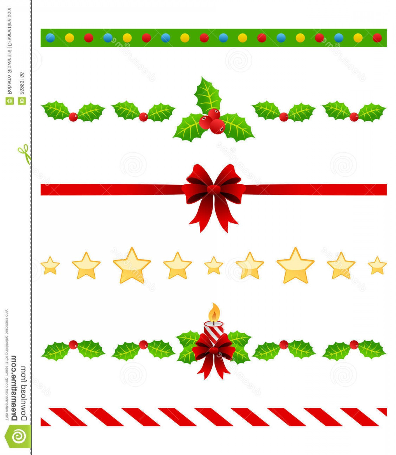 Christmas Divider Vector: Royalty Free Stock Image Christmas Dividers Set Image