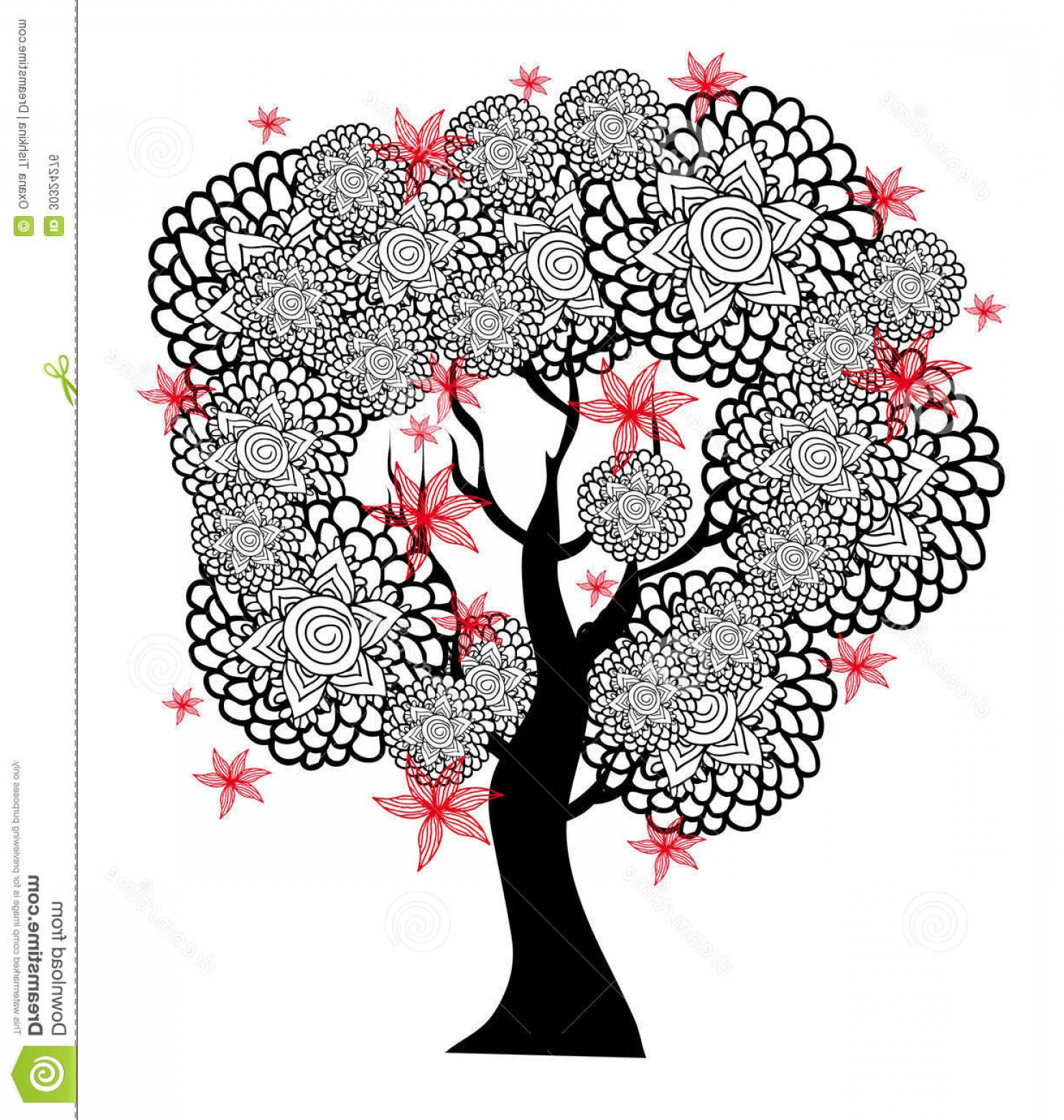 Red Black And White Vector Art: Royalty Free Stock Image Fantastic Black White Tree Red Flowers Vector Graphic Image Stylized Image