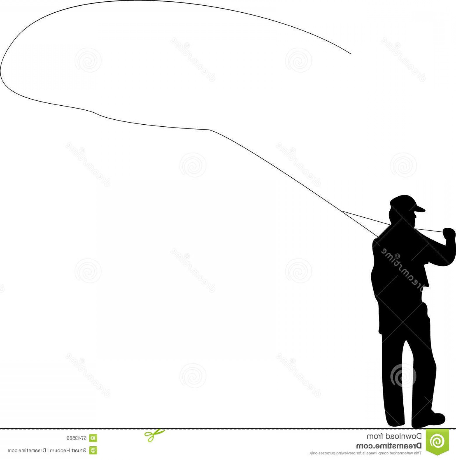 Detailed Vector Art Fly Fisherman: Royalty Free Stock Image Fly Fishing Image