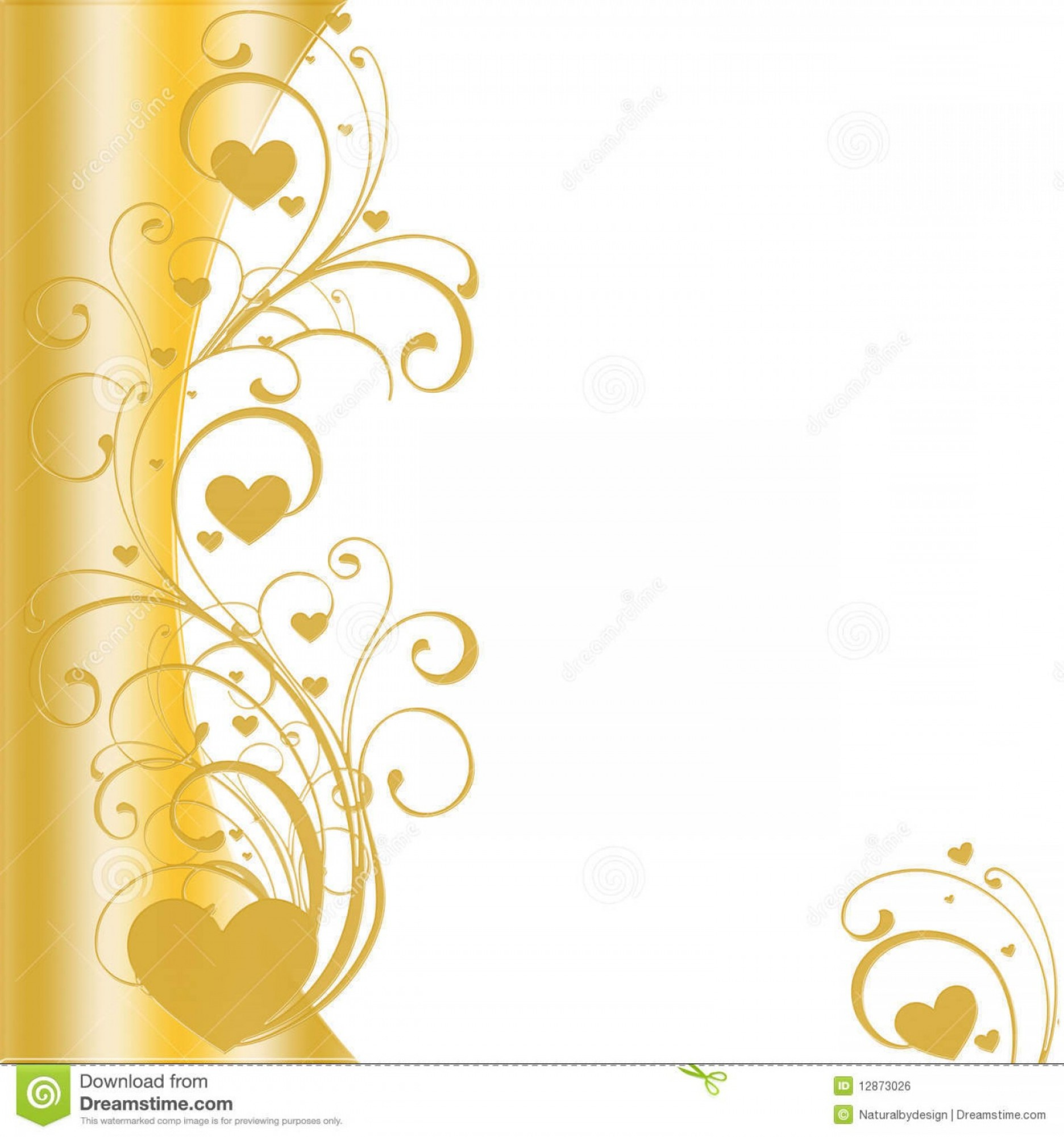 Gold Wedding Swirl Vector: Royalty Free Stock Image Golden Heart Border Vector Image