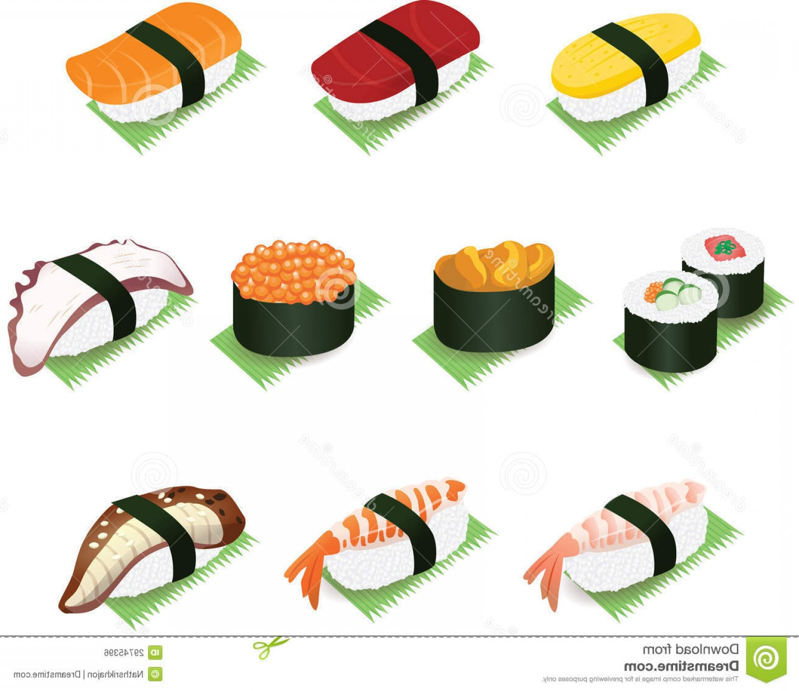 Sushi Vector Art: Royalty Free Stock Image Japanese Sushi Rolls Food Vector Icon Illustration Image
