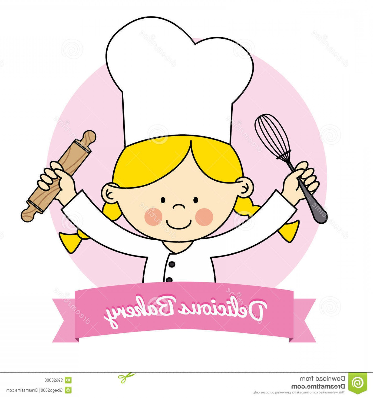 Vector Chef Utensils: Royalty Free Stock Image Little Chef Girl Isolated Drawing Kitchen Utensils Image