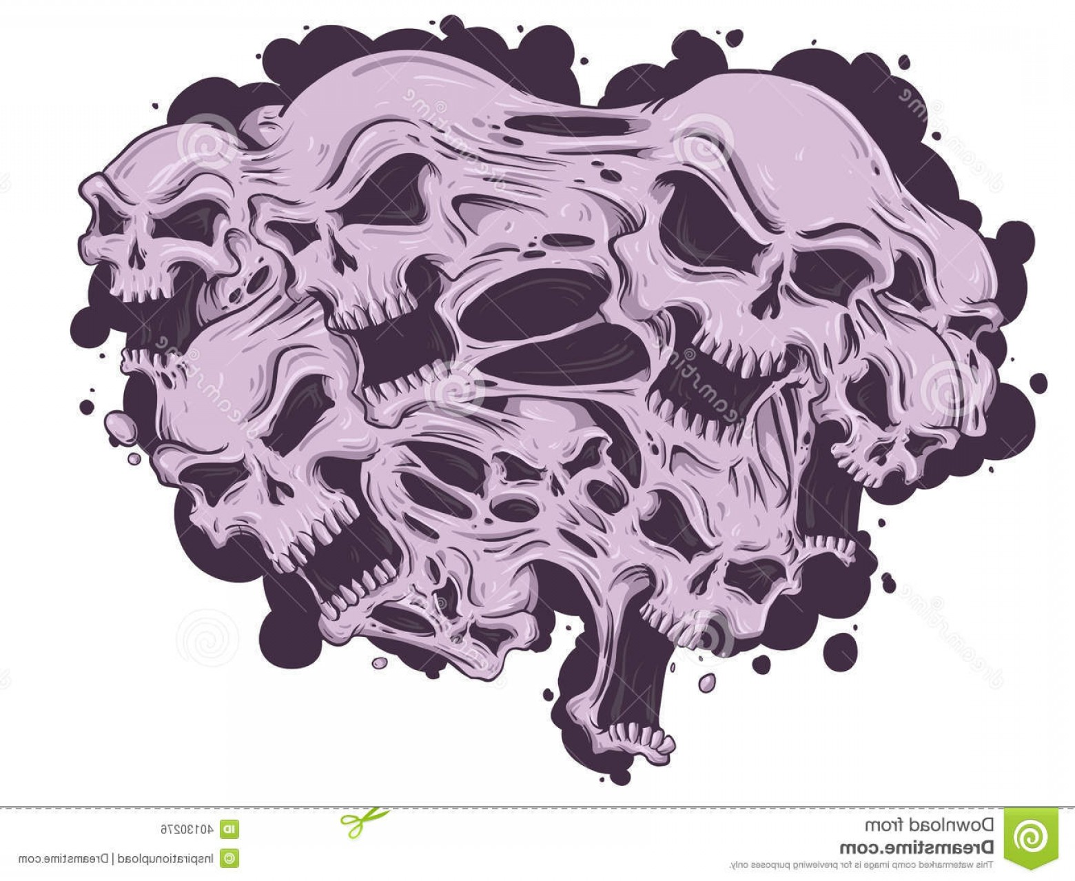 His And Hers Skulls Vector: Royalty Free Stock Image Melting Skulls Together Vector File Image