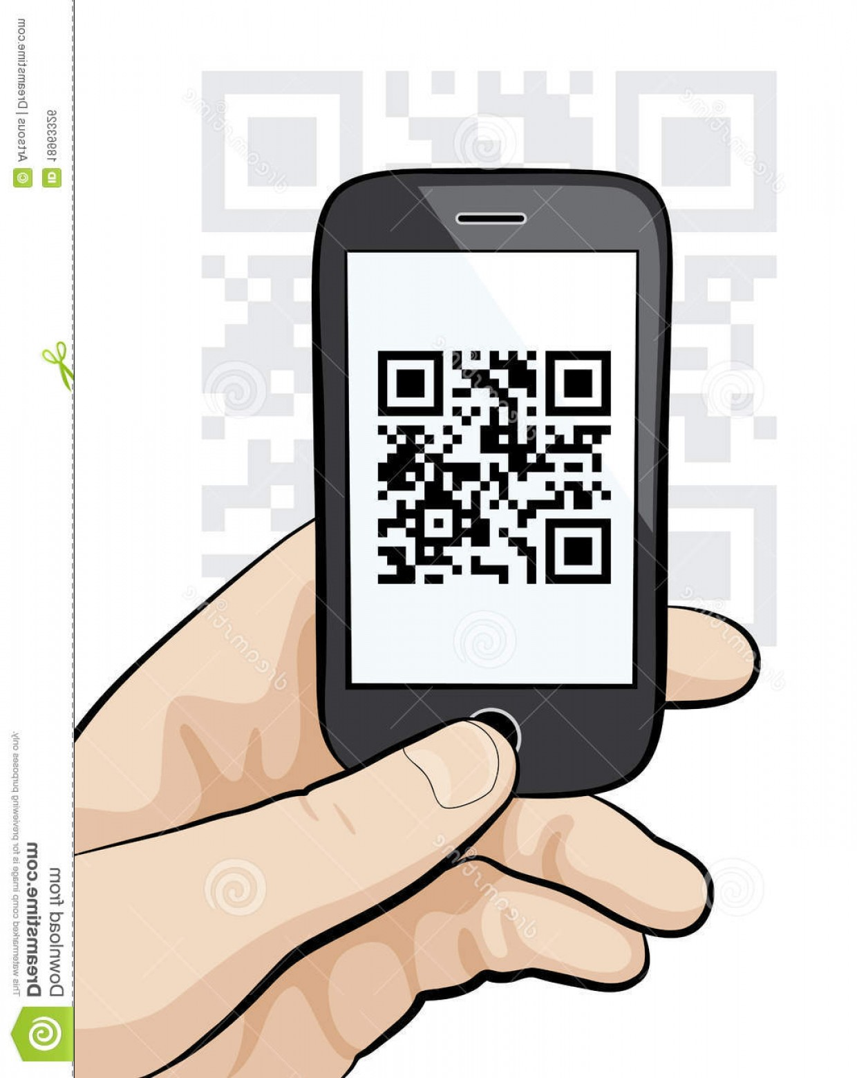 QR Mobile Phone Vector: Royalty Free Stock Image Mobile Phone Male Hand Scanning Qr Code Image