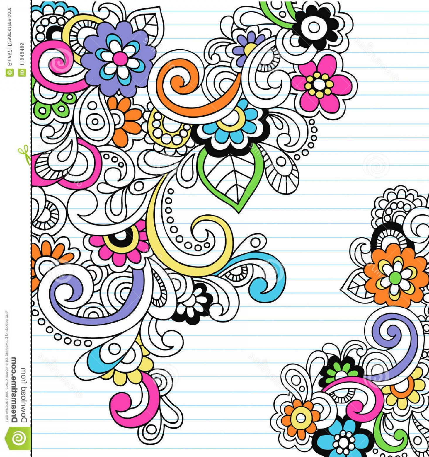 Paisley Swirl Flower Vector: Royalty Free Stock Image Psychedelic Paisley Notebook Doodle Vector Image
