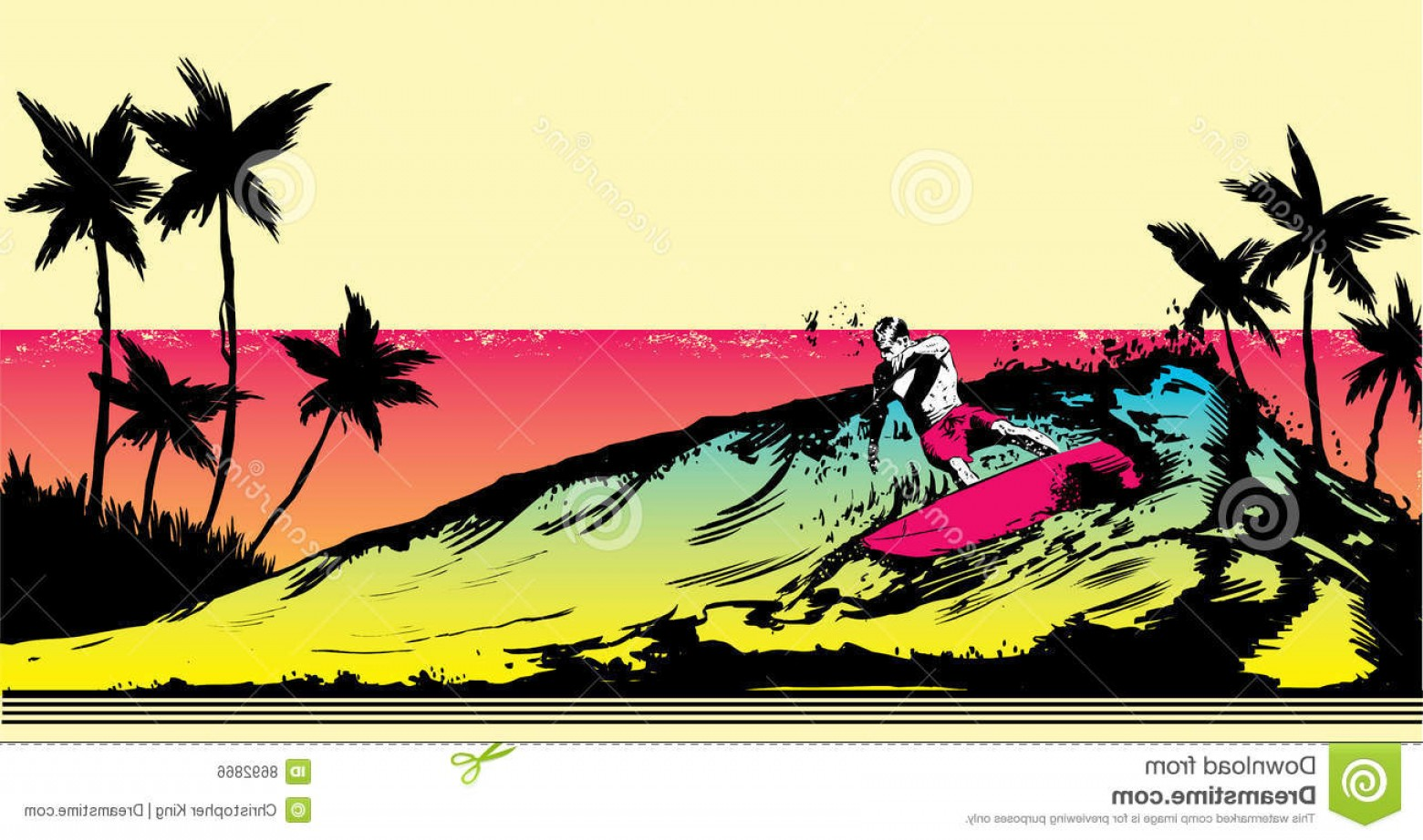 Beach Surf Vectors: Royalty Free Stock Image Retro Style Beach Scene Surfer Illustration Image