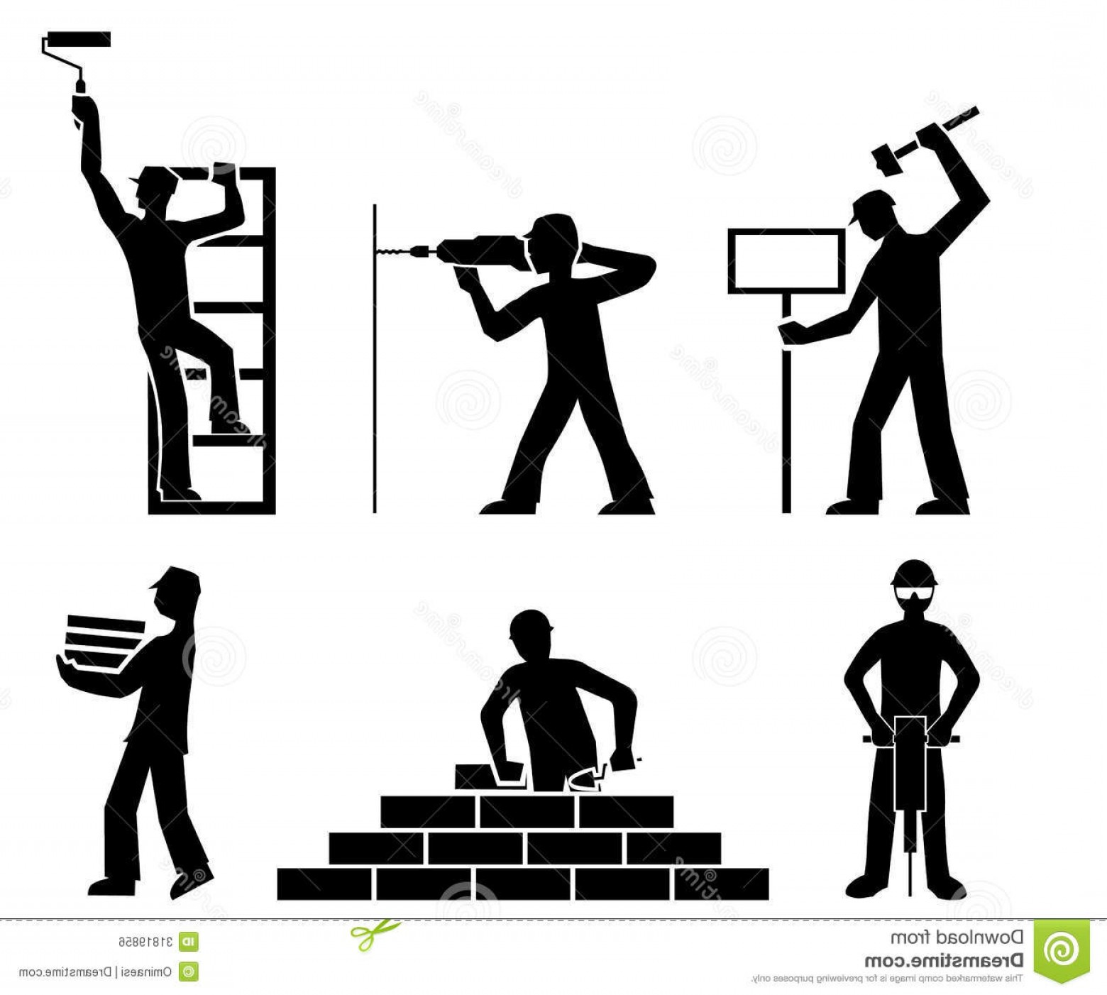 Vector Constructor: Royalty Free Stock Image Set Builders Outline Vector File Eps Format Image