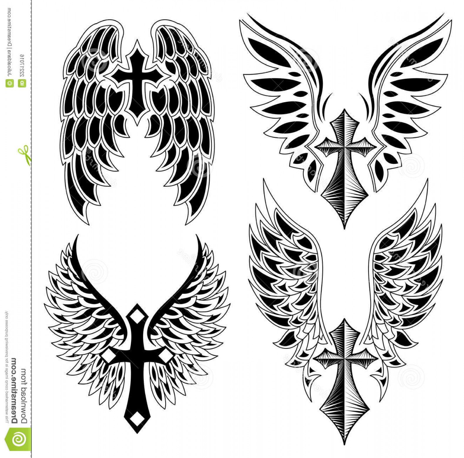 Angel Wings Tattoo Tribal Vector: Royalty Free Stock Image Set Cross Wings Tattoo Elements Vector Image