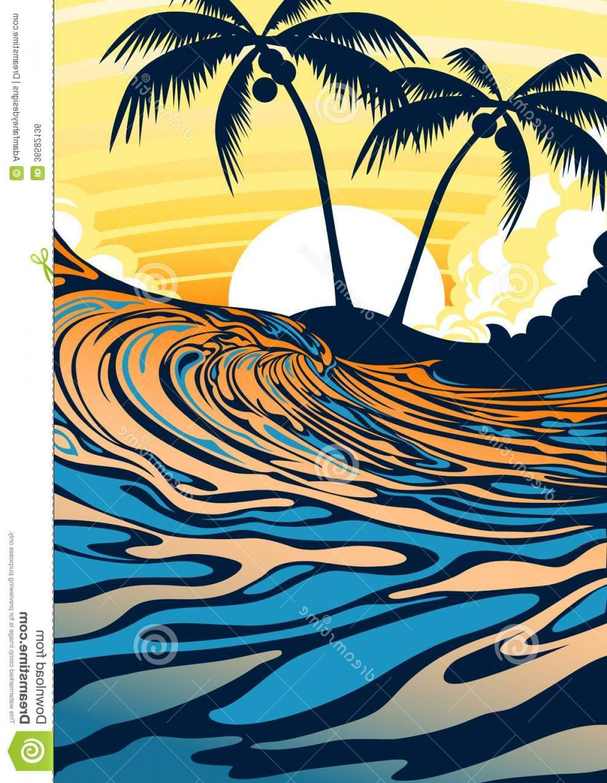 Beach Surf Vectors: Royalty Free Stock Image Surf Beach Sunrise Vector Illustration Surfing Wave Palm Trees Image