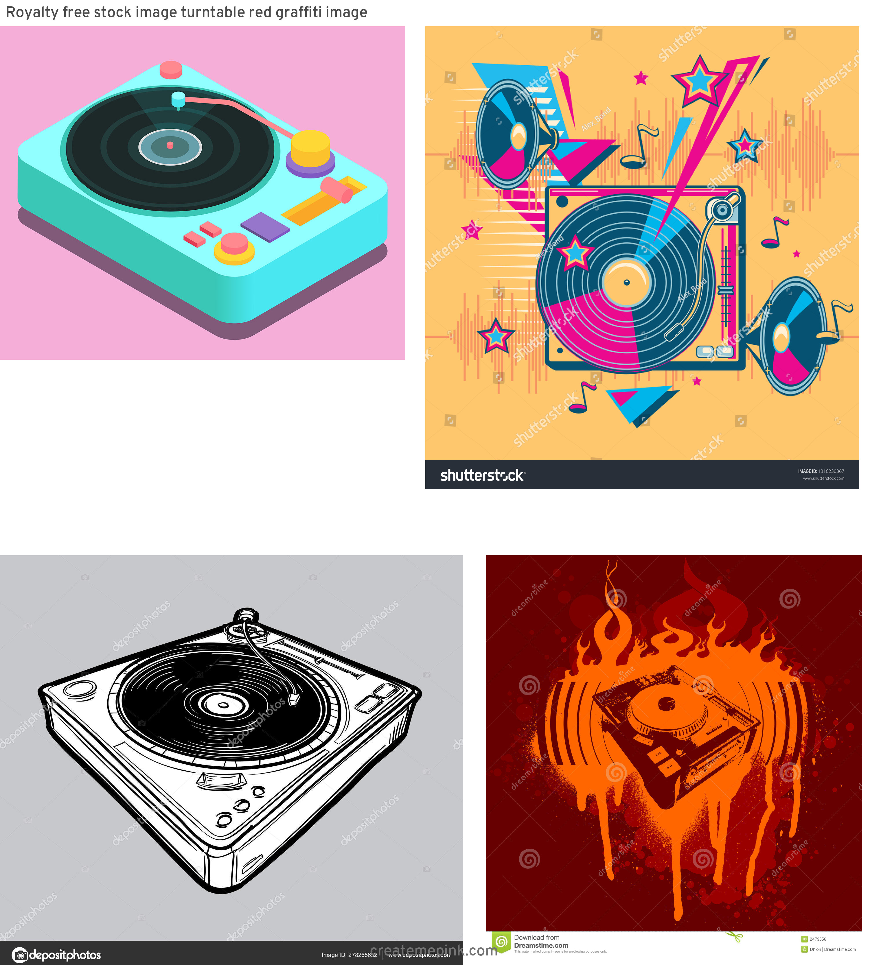 Funk Vector Turntables: Royalty Free Stock Image Turntable Red Graffiti Image