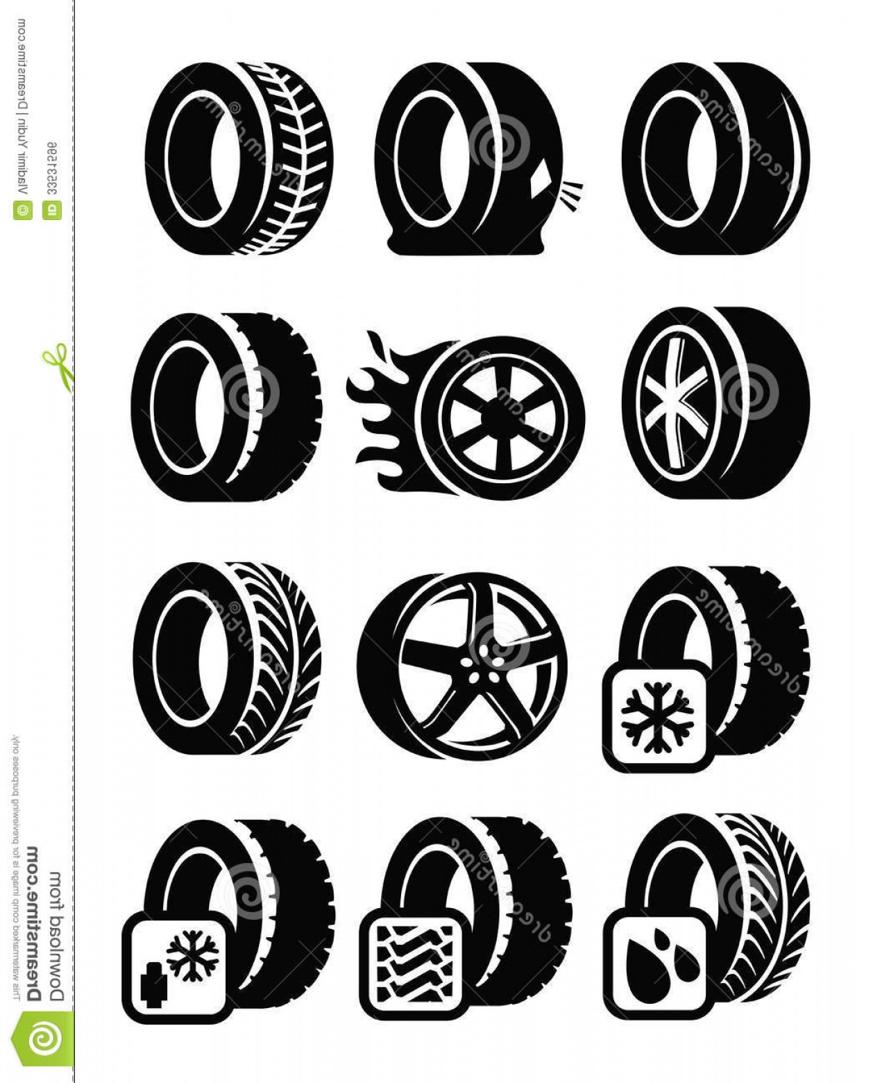 Tire Icon Vector: Royalty Free Stock Image Tyre Icons Vector Black Set Gray Image