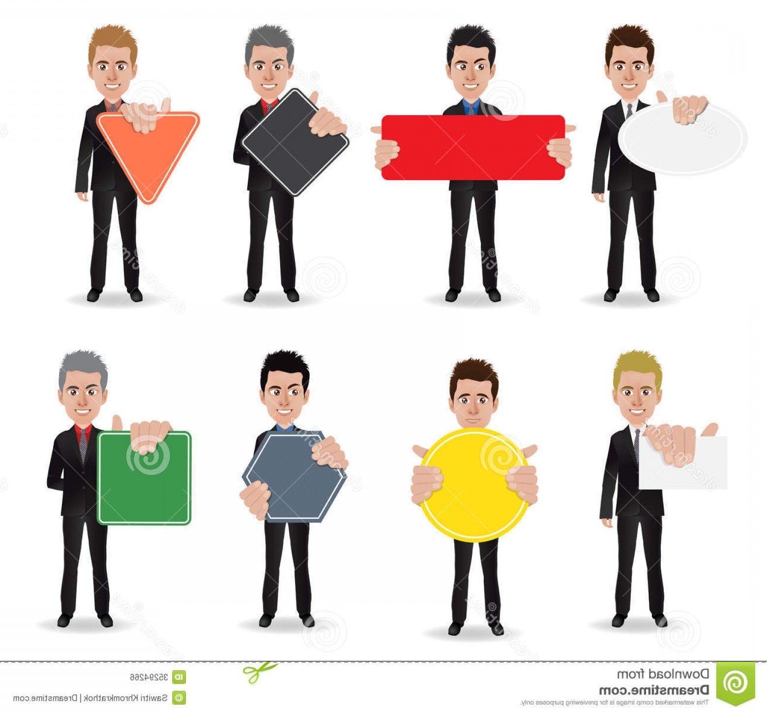 Vector Person Holding: Royalty Free Stock Image Vector Business Man Parts Body Template Design Work Image