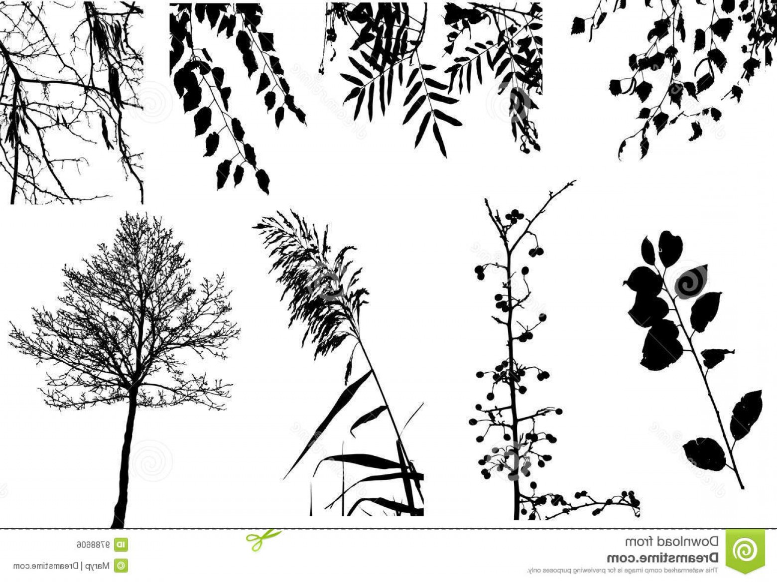 Vector Clip Art Collections: Royalty Free Stock Image Vector Clipart Collection Trees Bushes Image