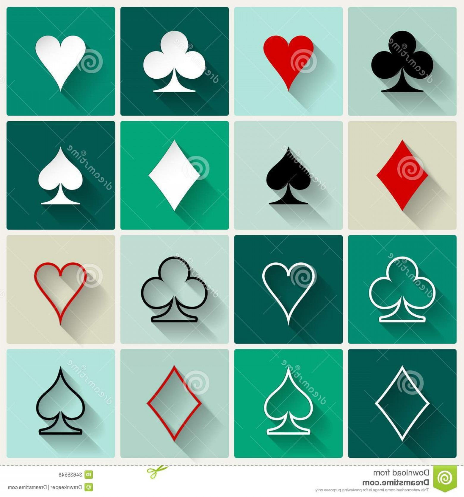 Card Suits Vector Outlines: Royalty Free Stock Image Vector Flat Card Suit Icons Icon Set Four Base Gambling Symbols Web Mobile Design Image