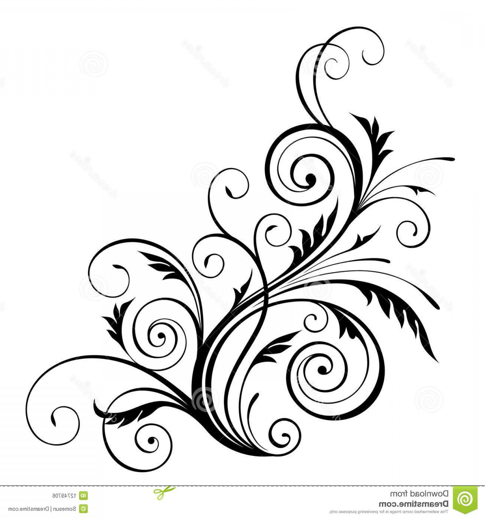 Floral Vector Calligraphy: Royalty Free Stock Image Vector Floral Design Element Image