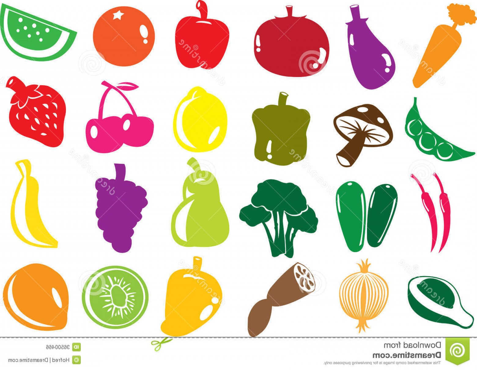 Vector Fruit Vegetable: Royalty Free Stock Image Vector Fruit Vegetables Icons Illustration Format Image