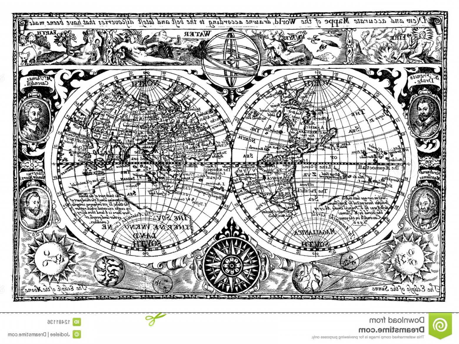 Vintage Map Clipart- Vector: Royalty Free Stock Image Vector Illustration Antique World Map Image