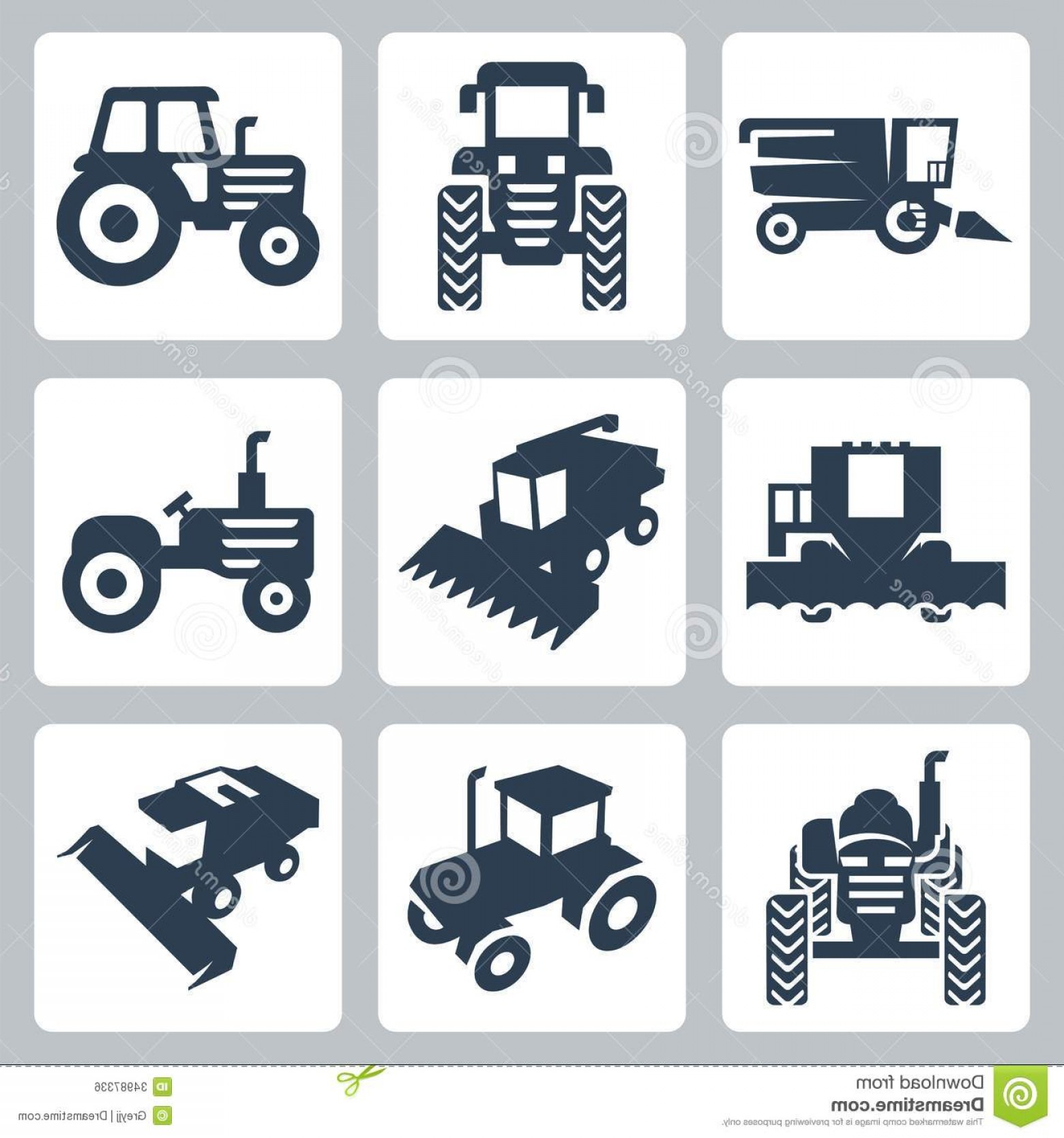 Tractor Silhouette Vector Art: Royalty Free Stock Image Vector Tractor Combine Harvester Icons Image