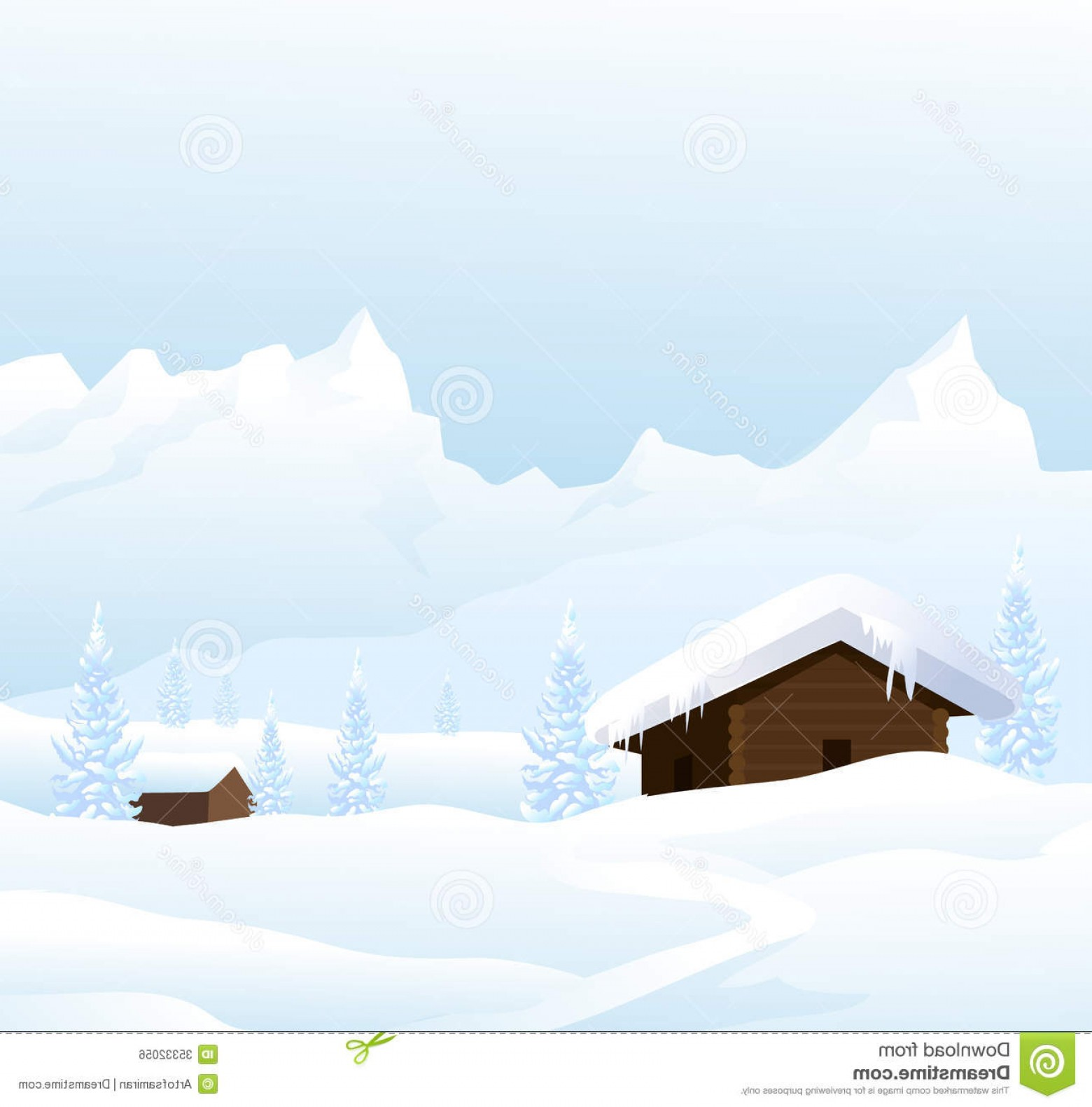 Free Winter Vector: Royalty Free Stock Image Winter Landscape Vector Image