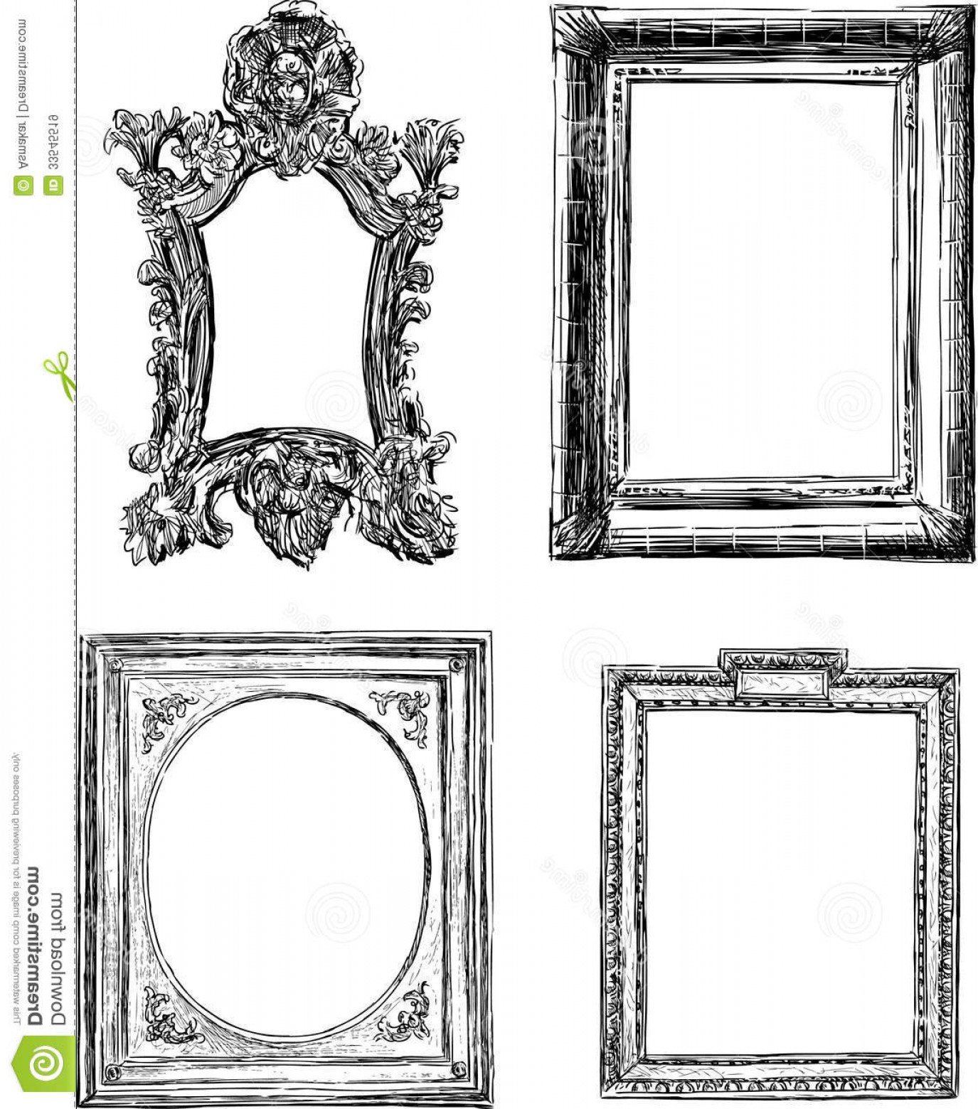 Antique Frames Vector: Royalty Free Stock Images Antique Decorative Frames Vector Drawing Frame Baroque Style Image