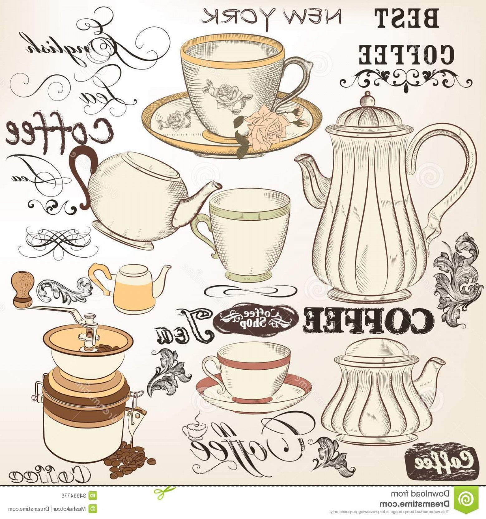 Vintage Tea Cup Vector Royalty Free Stock Images Collection Vintage