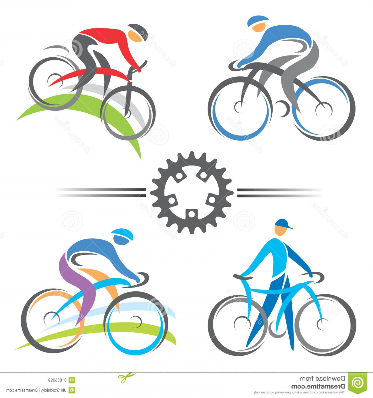 Indoor Cycling Bike Vector: Royalty Free Stock Images Cycling Icons Colorful Mountain Biking Vector Illustrations Image