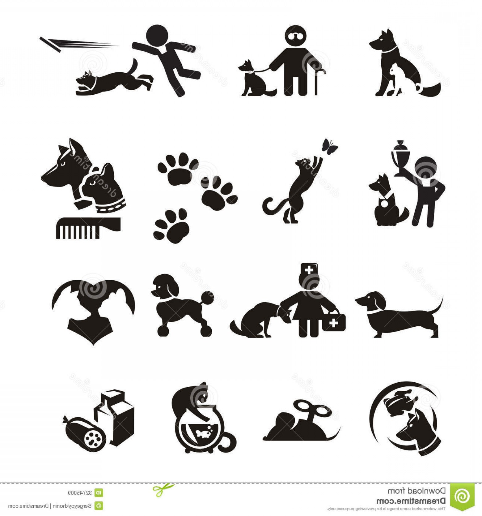 Dog And Cat Vector Illustration: Royalty Free Stock Images Dog Cat Icons Set Authors Illustration Vector Image